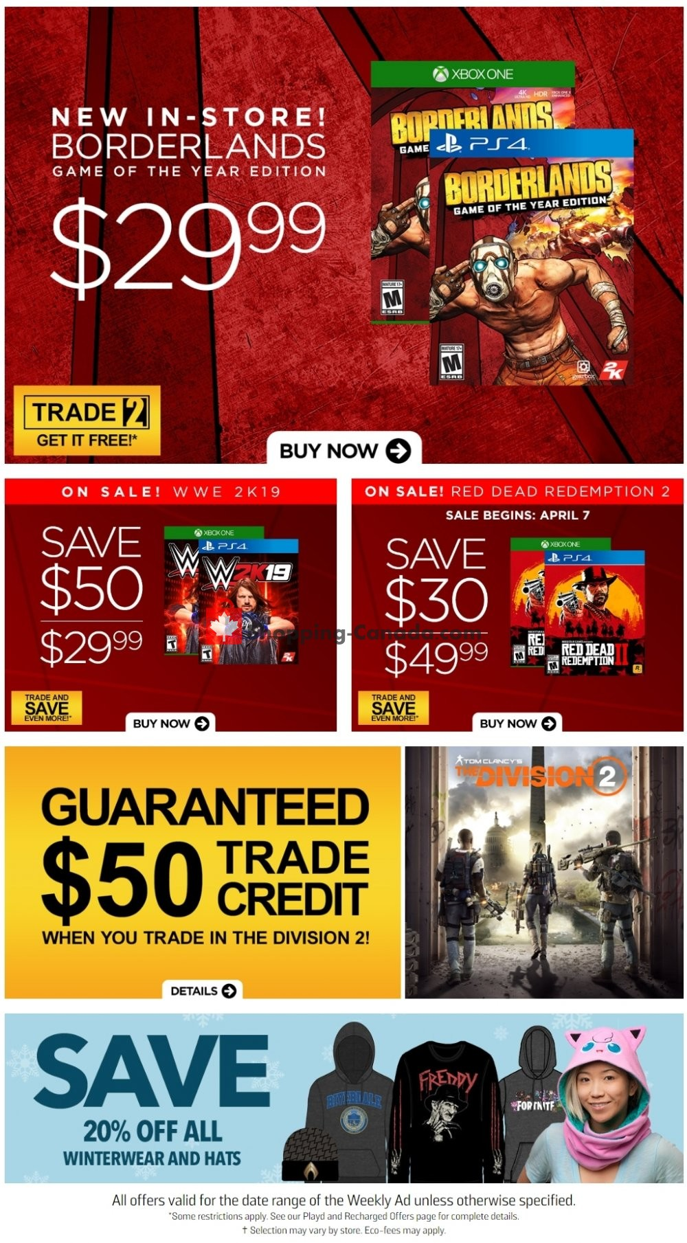Flyer EB Games Canada - from Friday April 5, 2019 to Thursday April 11, 2019