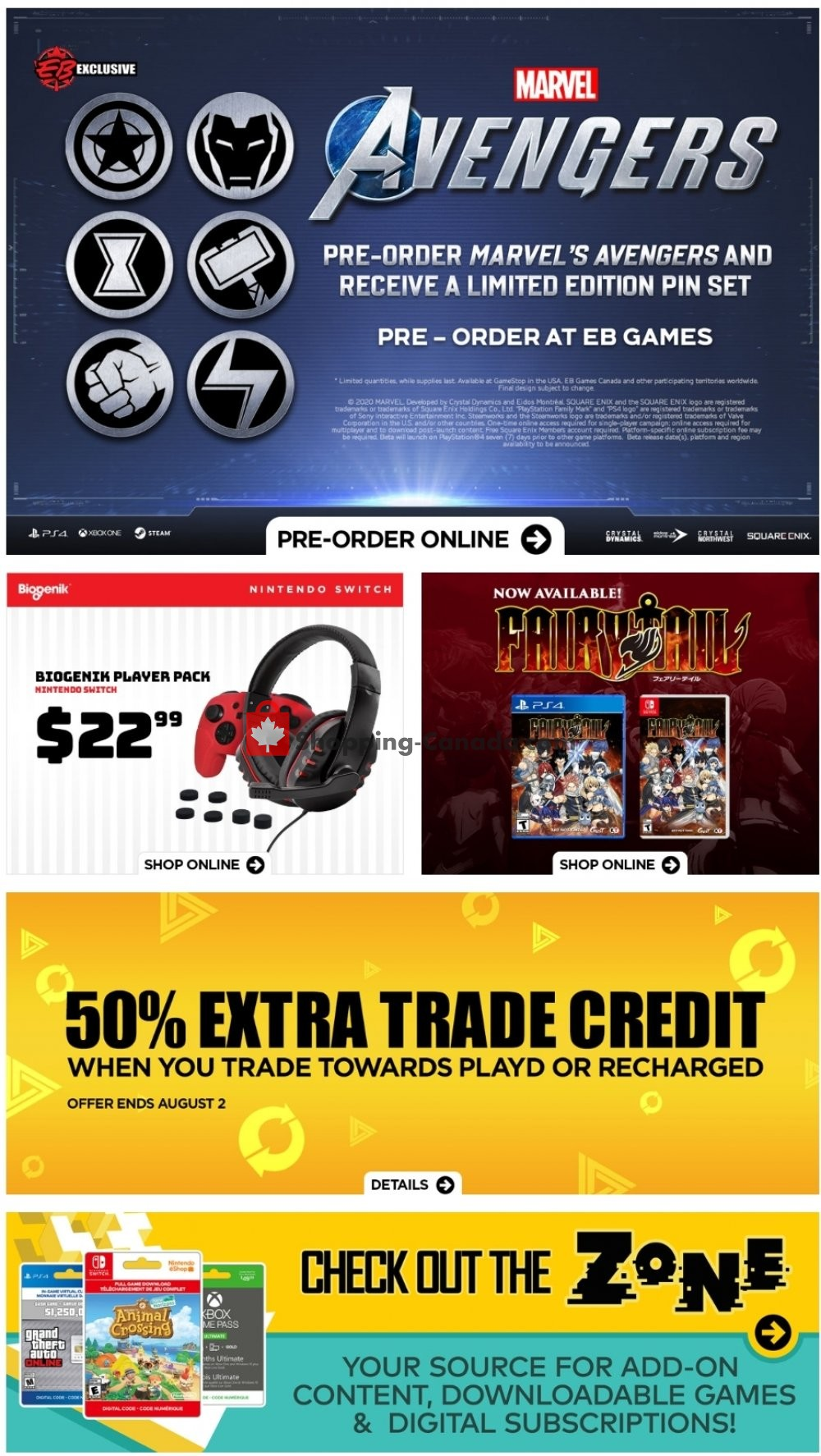 Flyer EB Games Canada - from Friday July 31, 2020 to Thursday August 6, 2020