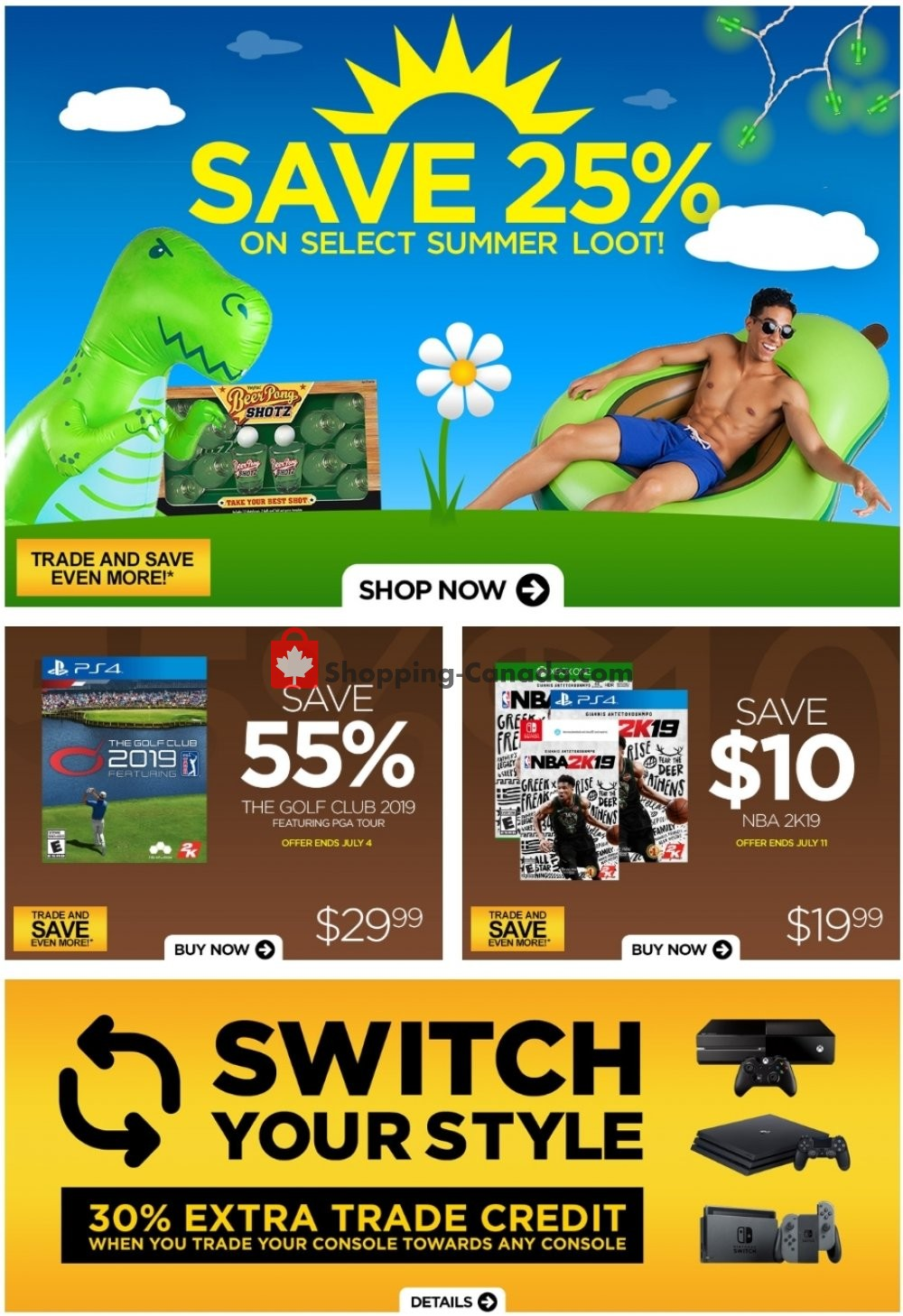 Flyer EB Games Canada - from Friday June 28, 2019 to Thursday July 4, 2019