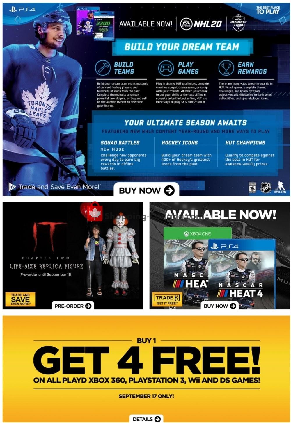 Flyer EB Games Canada - from Friday September 13, 2019 to Thursday September 19, 2019