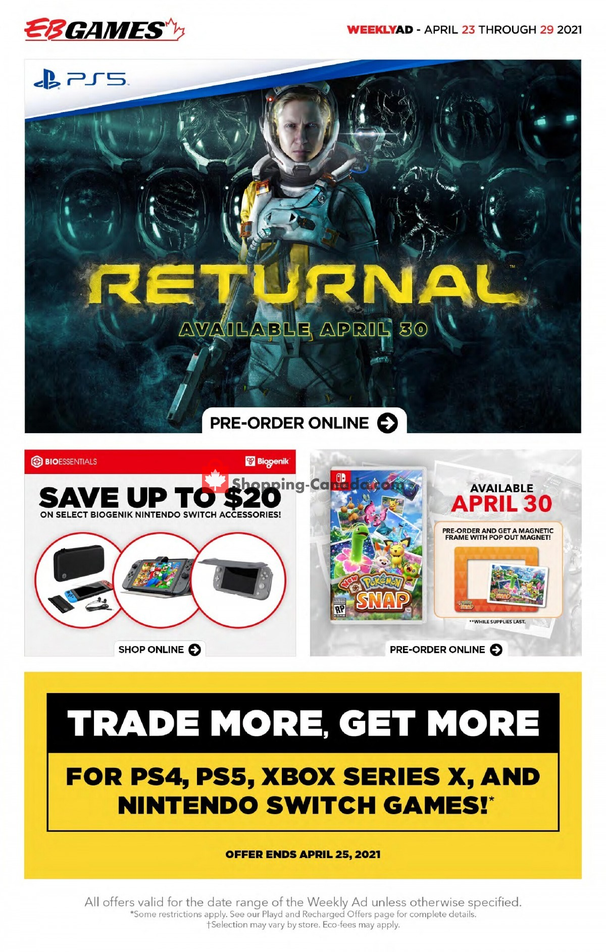 Flyer EB Games Canada - from Friday April 23, 2021 to Thursday April 29, 2021