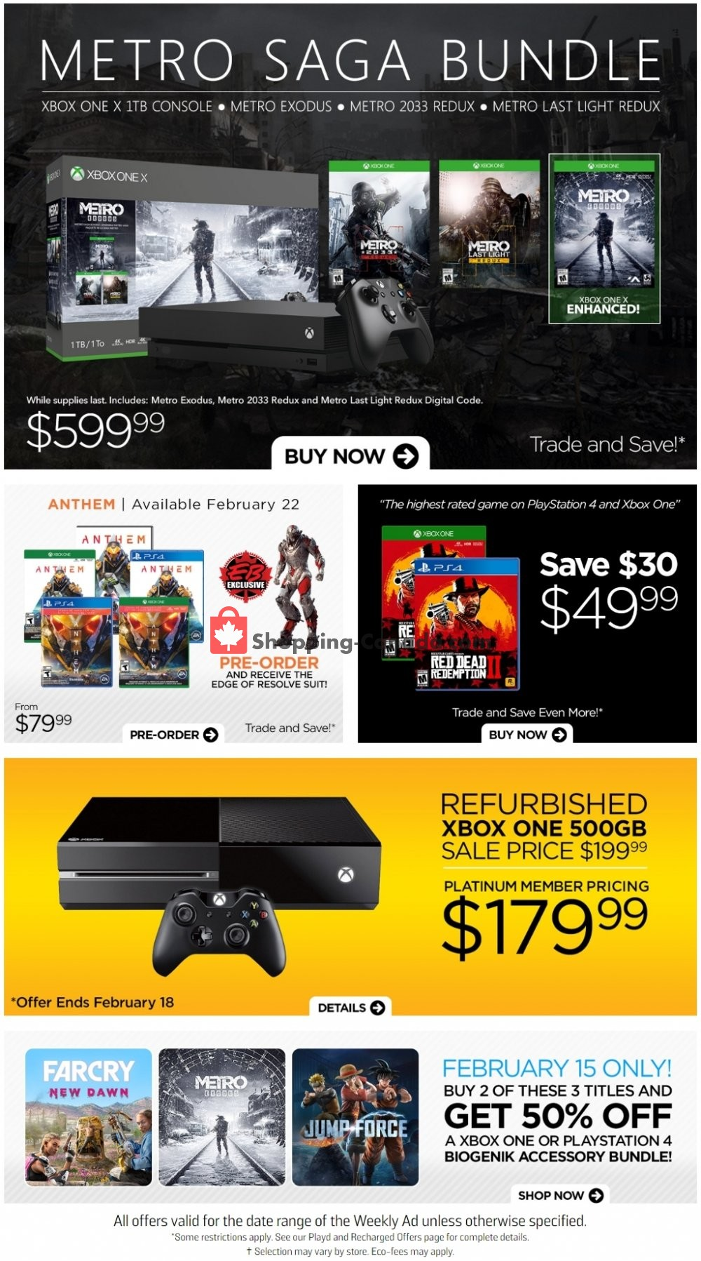 Flyer EB Games Canada - from Friday February 15, 2019 to Thursday February 21, 2019