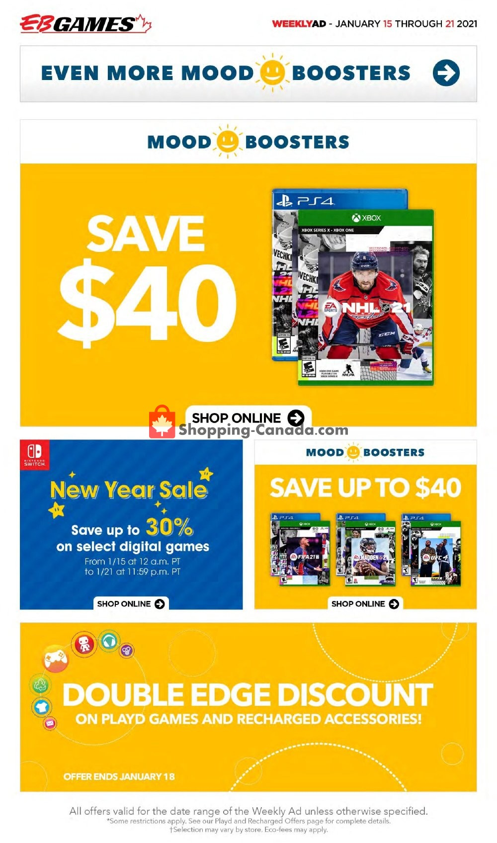 Flyer EB Games Canada - from Friday January 15, 2021 to Thursday January 21, 2021