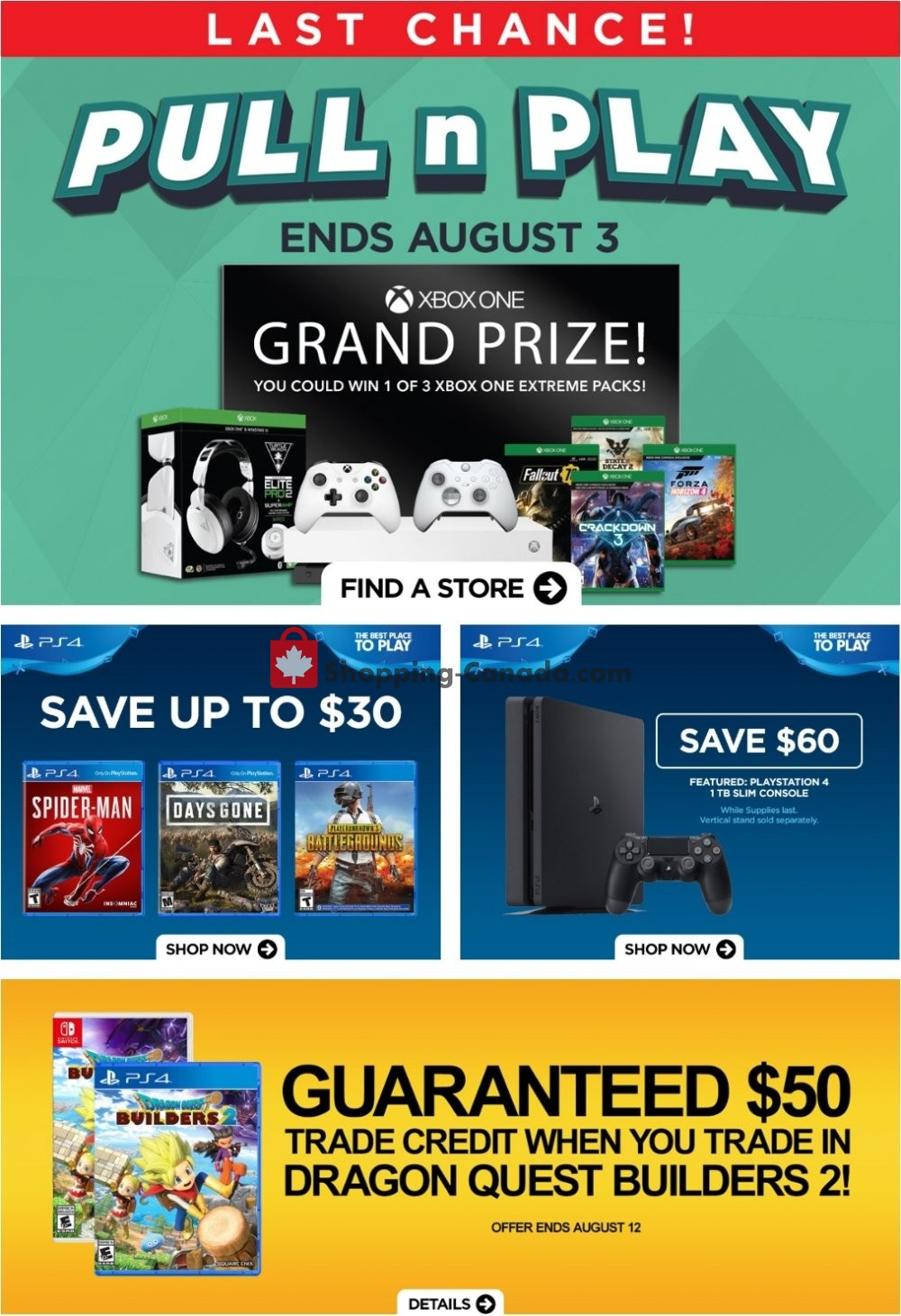 Flyer EB Games Canada - from Friday August 2, 2019 to Thursday August 8, 2019