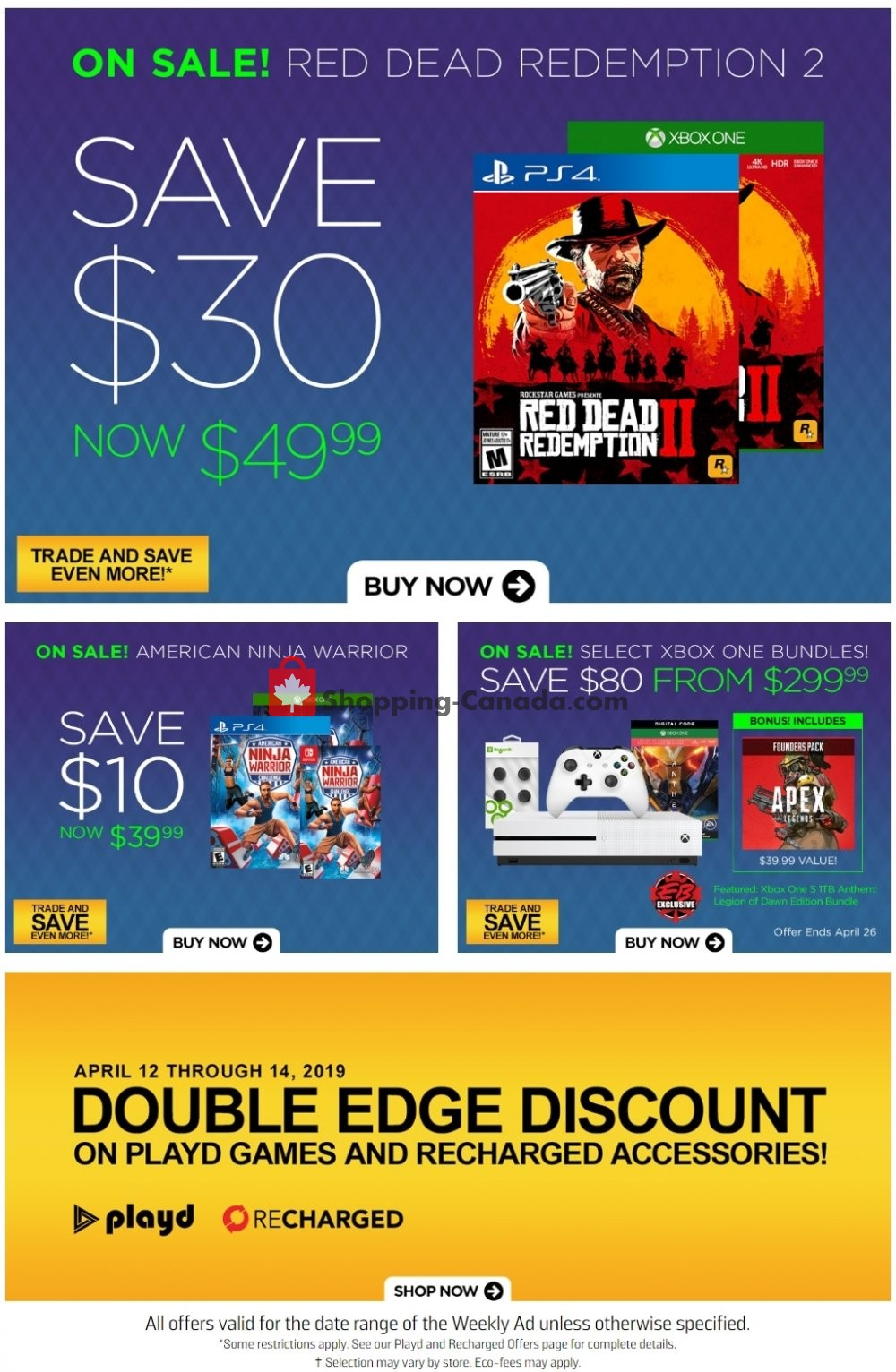 Flyer EB Games Canada - from Friday April 12, 2019 to Thursday April 18, 2019