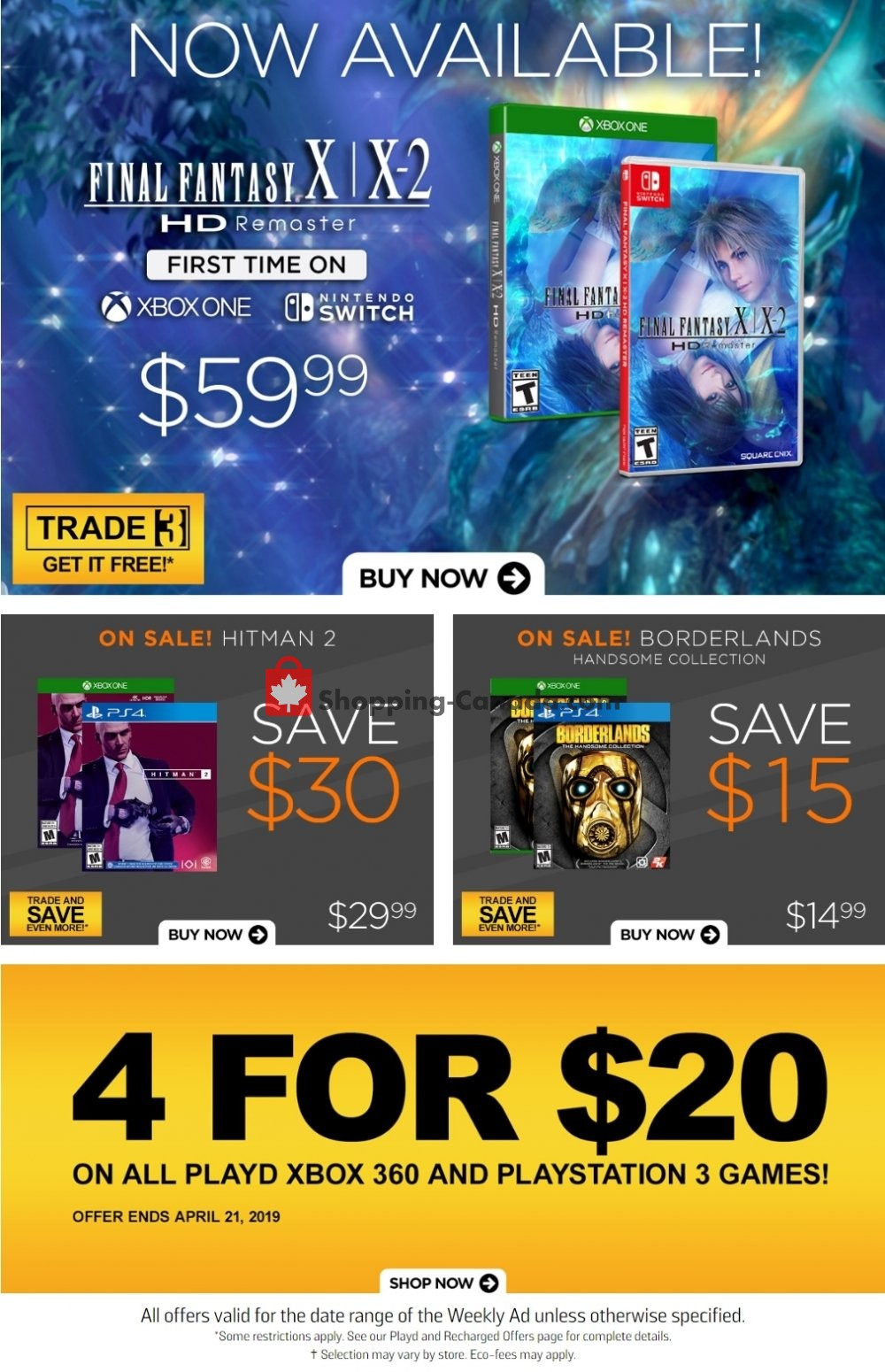 Flyer EB Games Canada - from Friday April 19, 2019 to Thursday April 25, 2019