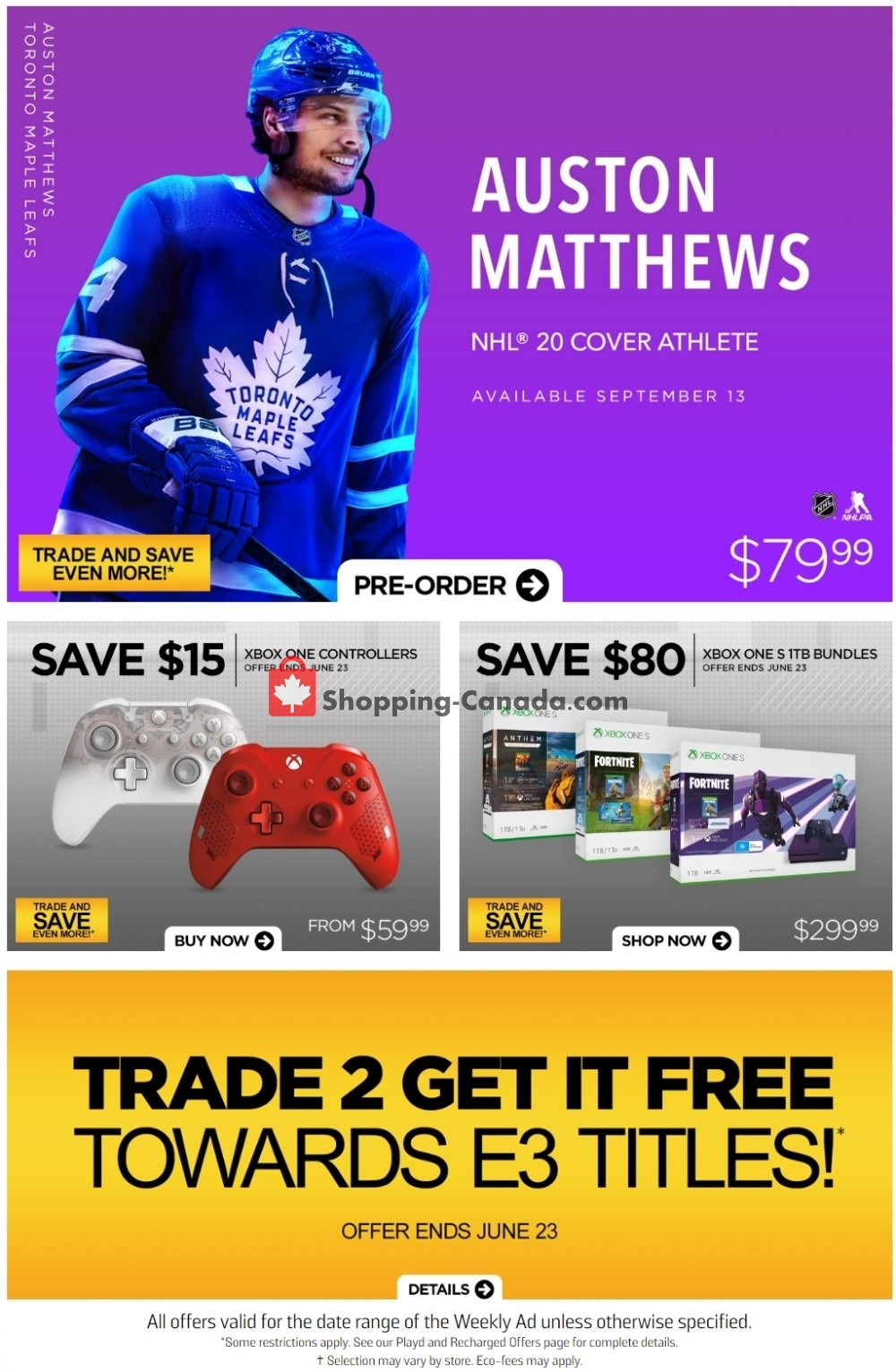Flyer EB Games Canada - from Friday June 21, 2019 to Thursday June 27, 2019