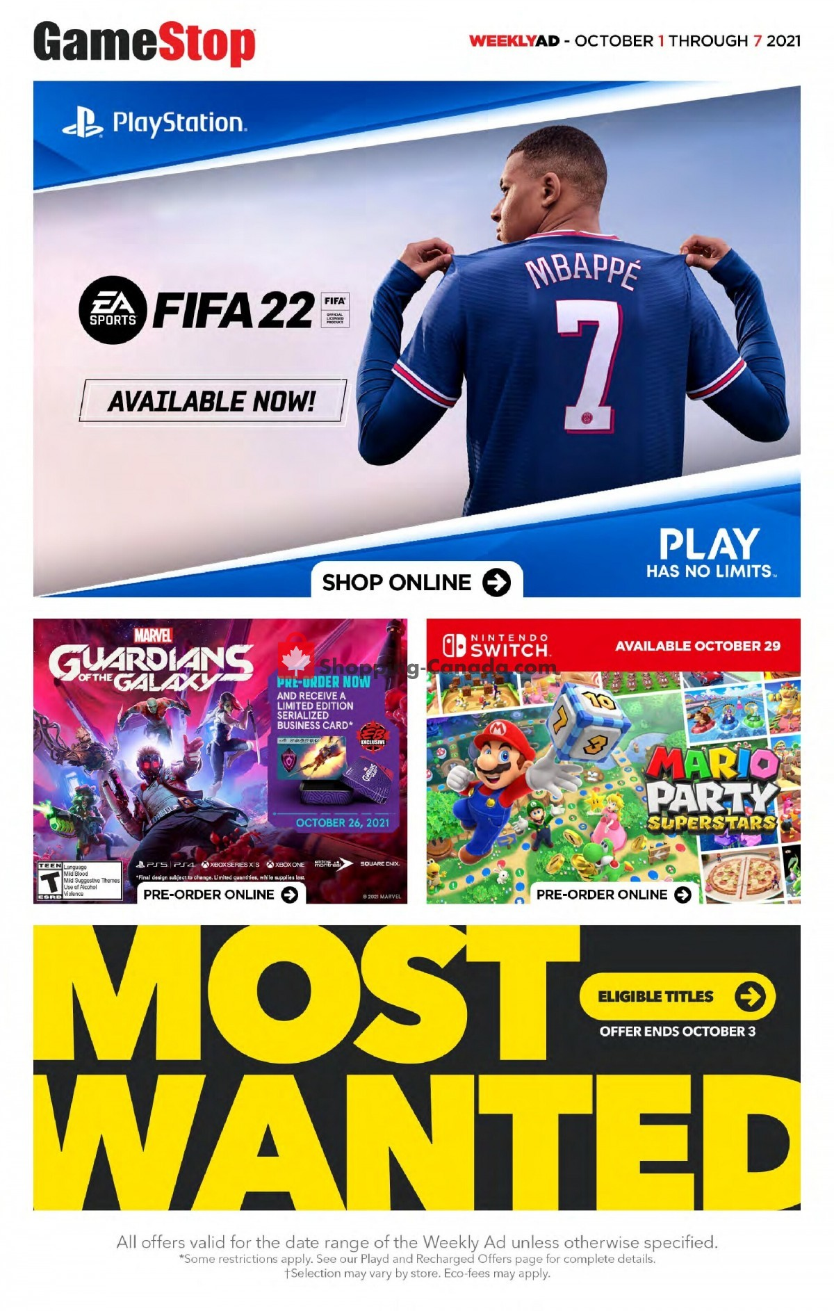 Flyer EB Games Canada - from Friday October 1, 2021 to Thursday October 7, 2021