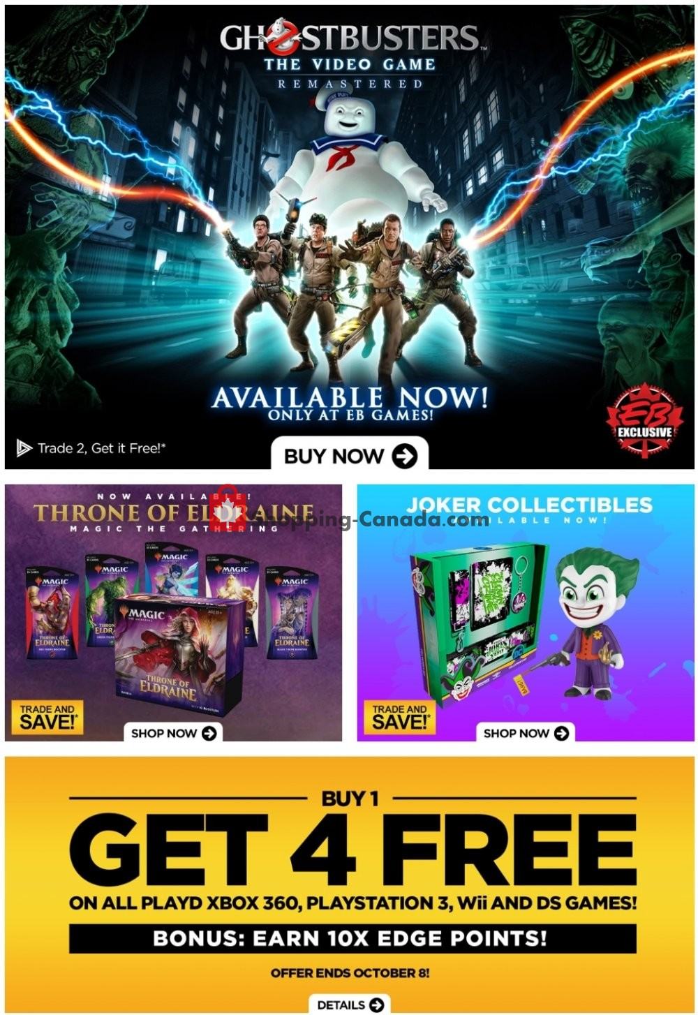 Flyer EB Games Canada - from Friday October 4, 2019 to Thursday October 10, 2019