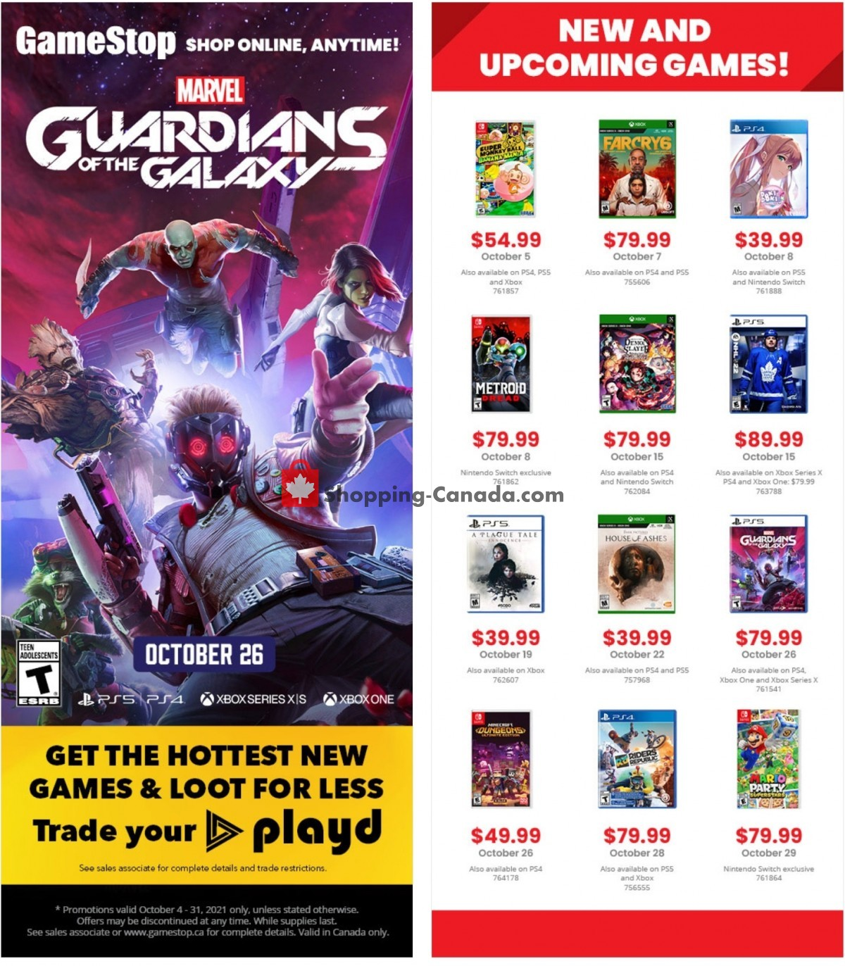 Flyer EB Games Canada - from Monday October 4, 2021 to Sunday October 31, 2021