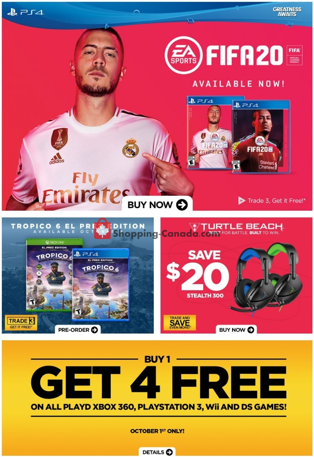 Flyer EB Games Canada - from Friday September 27, 2019 to Thursday October 3, 2019