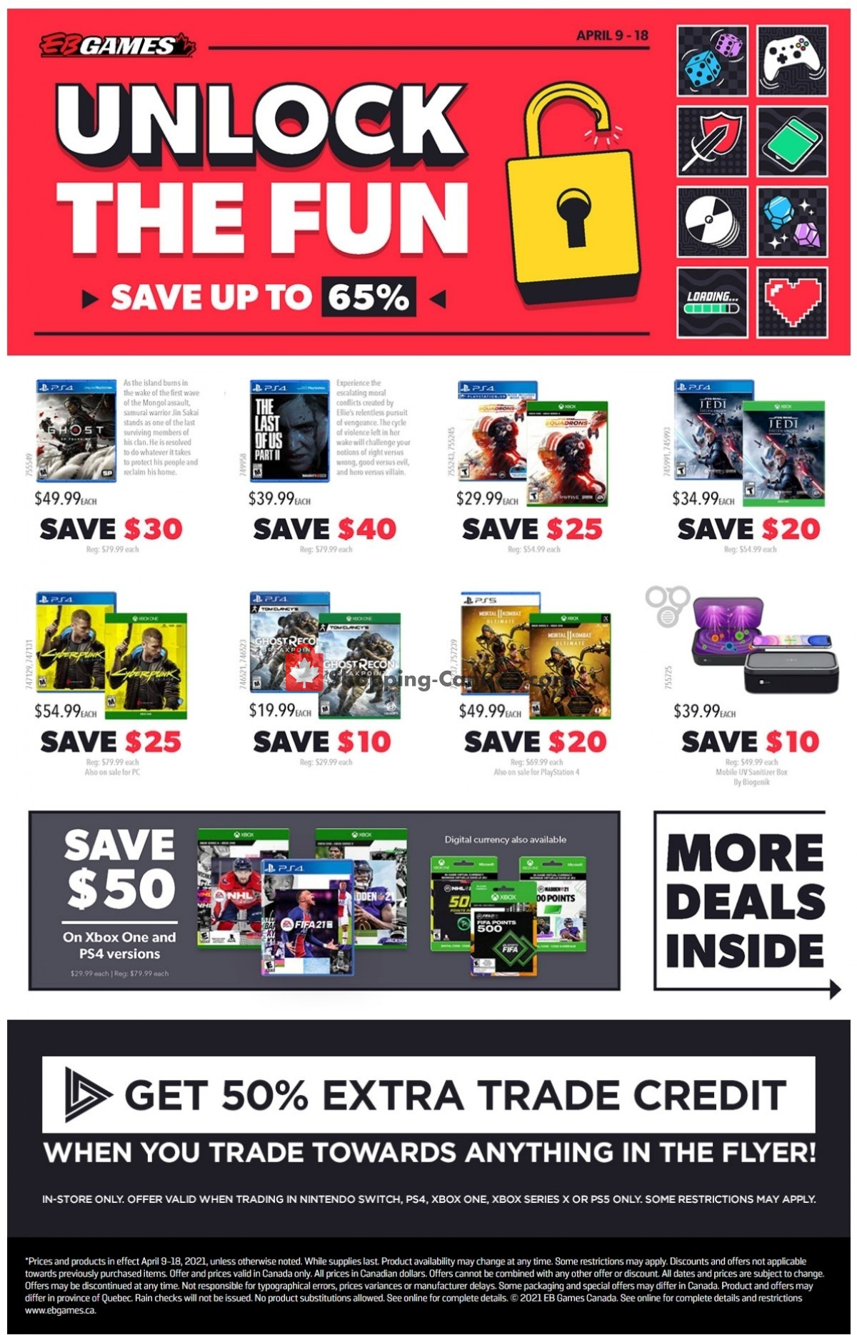 Flyer EB Games Canada - from Friday April 9, 2021 to Sunday April 18, 2021