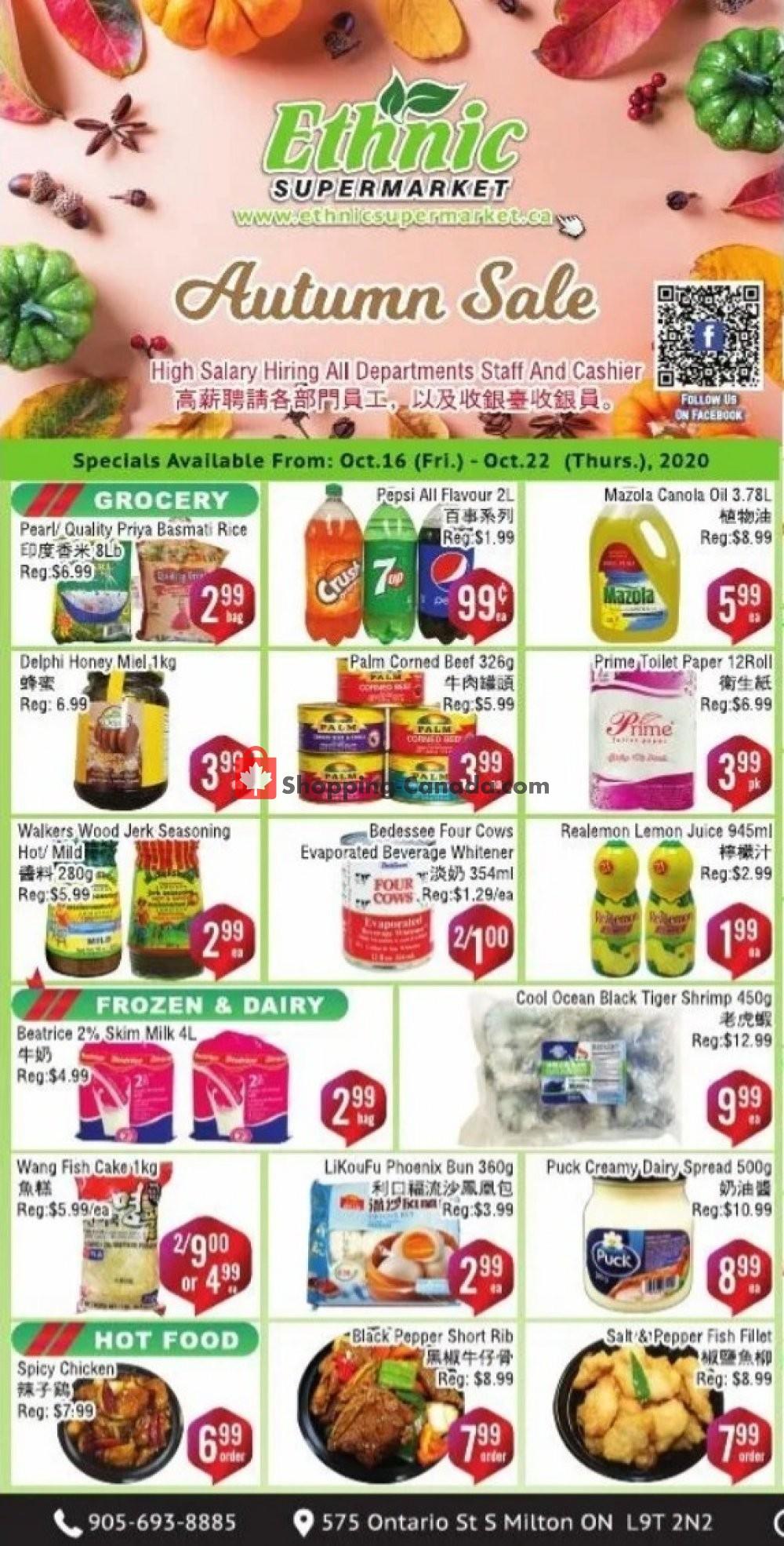 Flyer Ethnic Supermarket Canada - from Friday October 16, 2020 to Thursday October 22, 2020