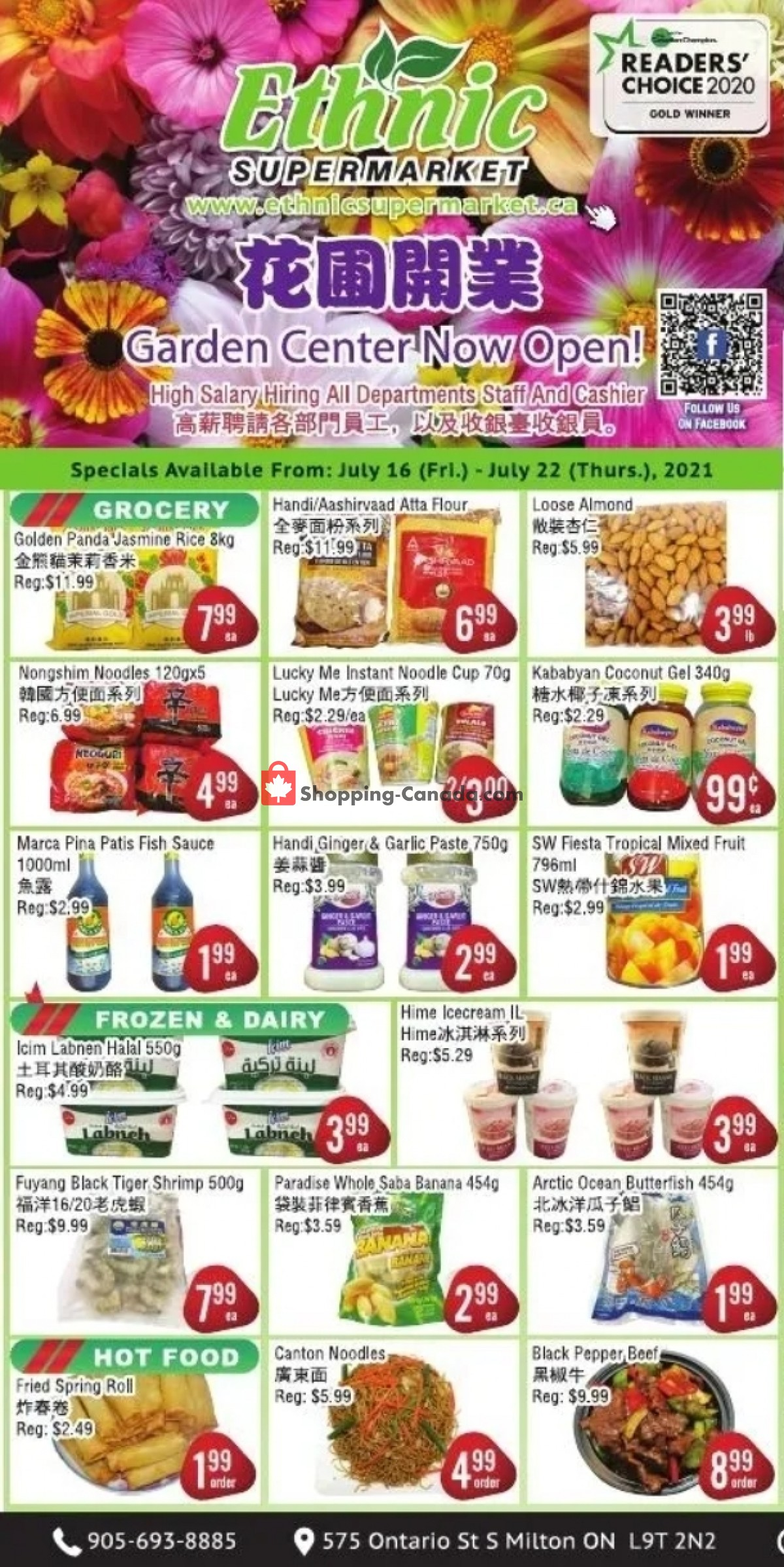 Flyer Ethnic Supermarket Canada - from Friday July 16, 2021 to Thursday July 22, 2021
