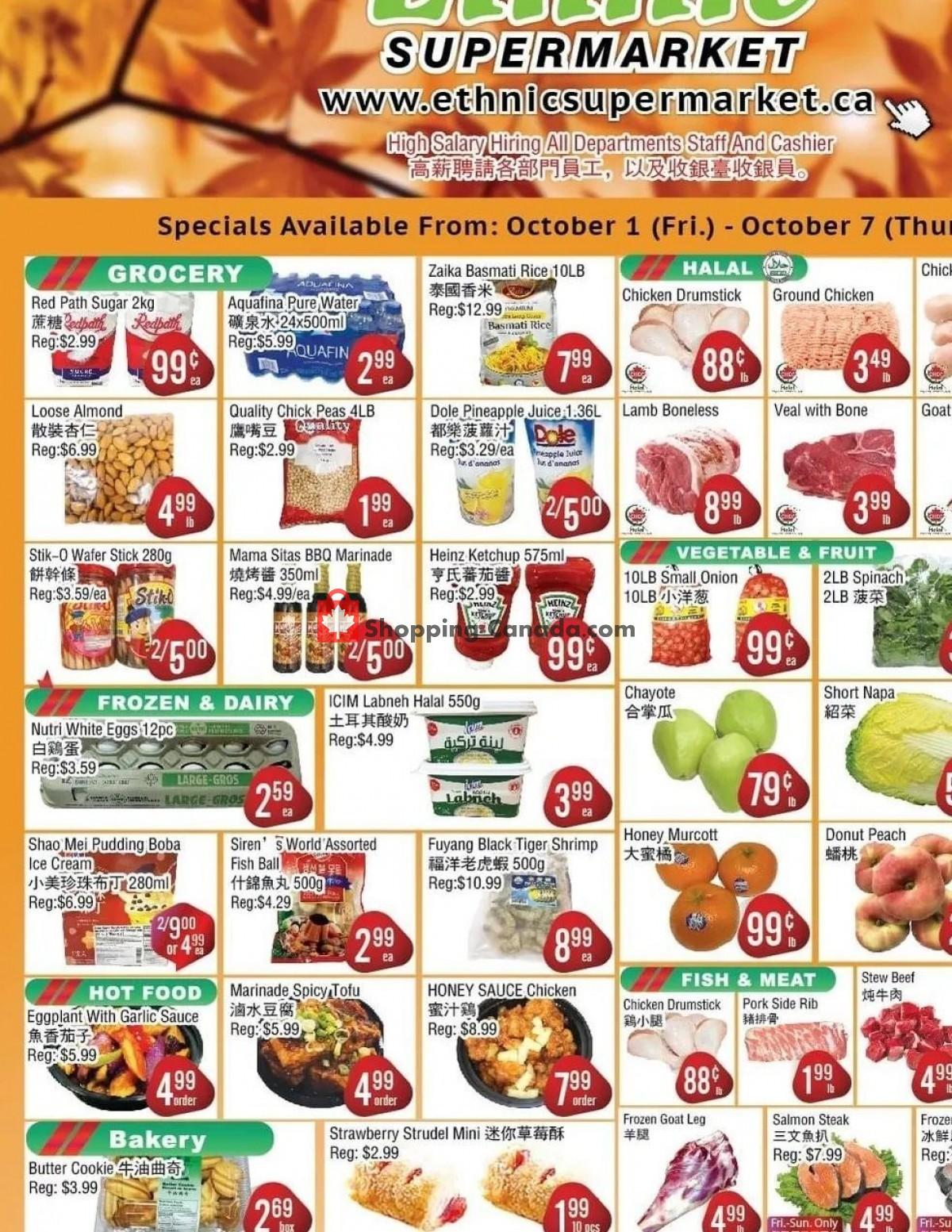 Flyer Ethnic Supermarket Canada - from Friday October 1, 2021 to Thursday October 7, 2021