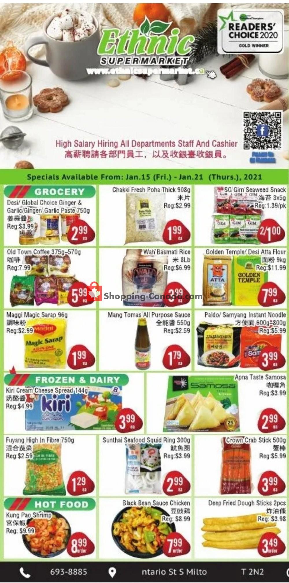 Flyer Ethnic Supermarket Canada - from Friday January 15, 2021 to Thursday January 21, 2021