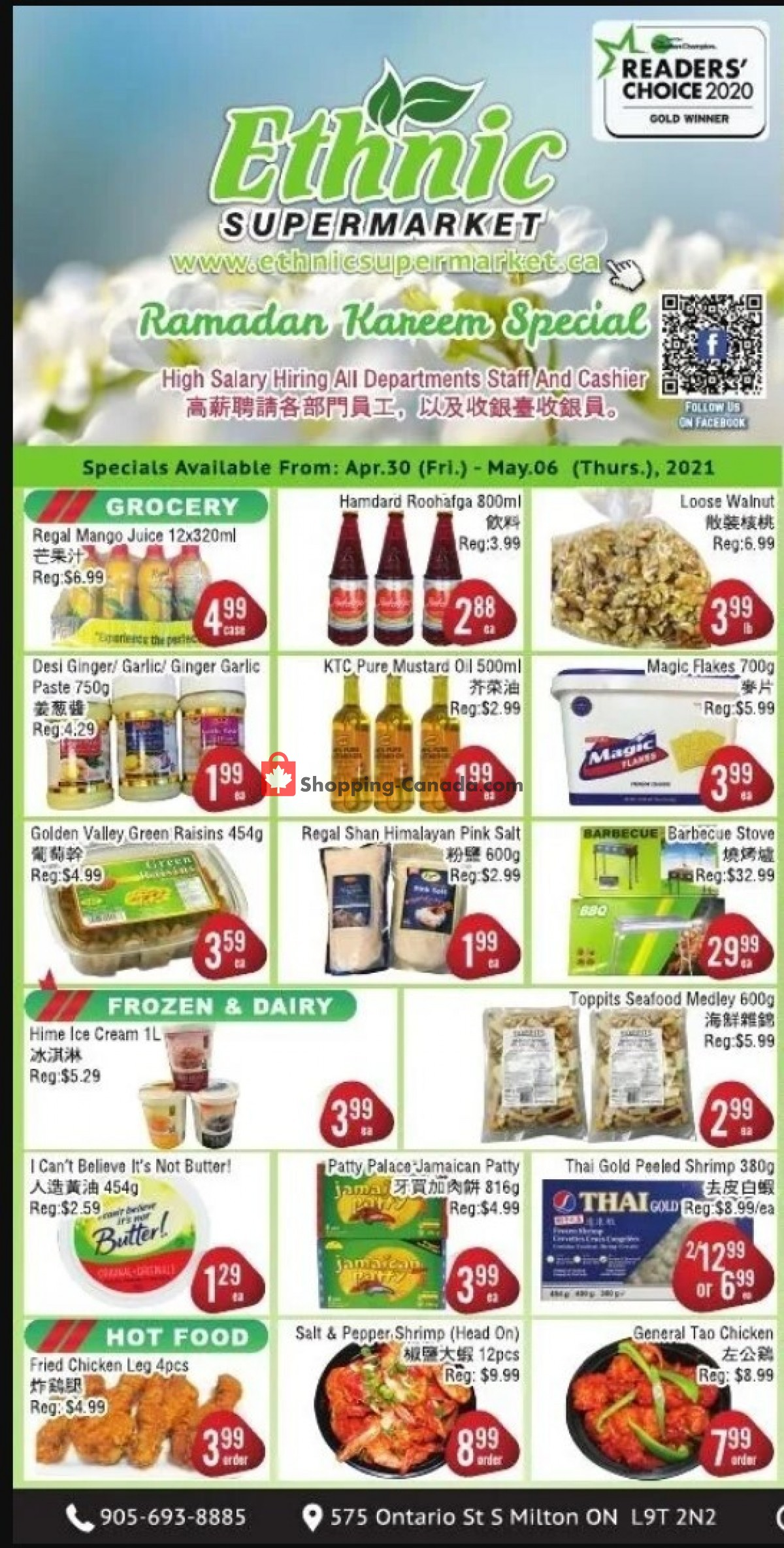 Flyer Ethnic Supermarket Canada - from Friday April 30, 2021 to Thursday May 6, 2021