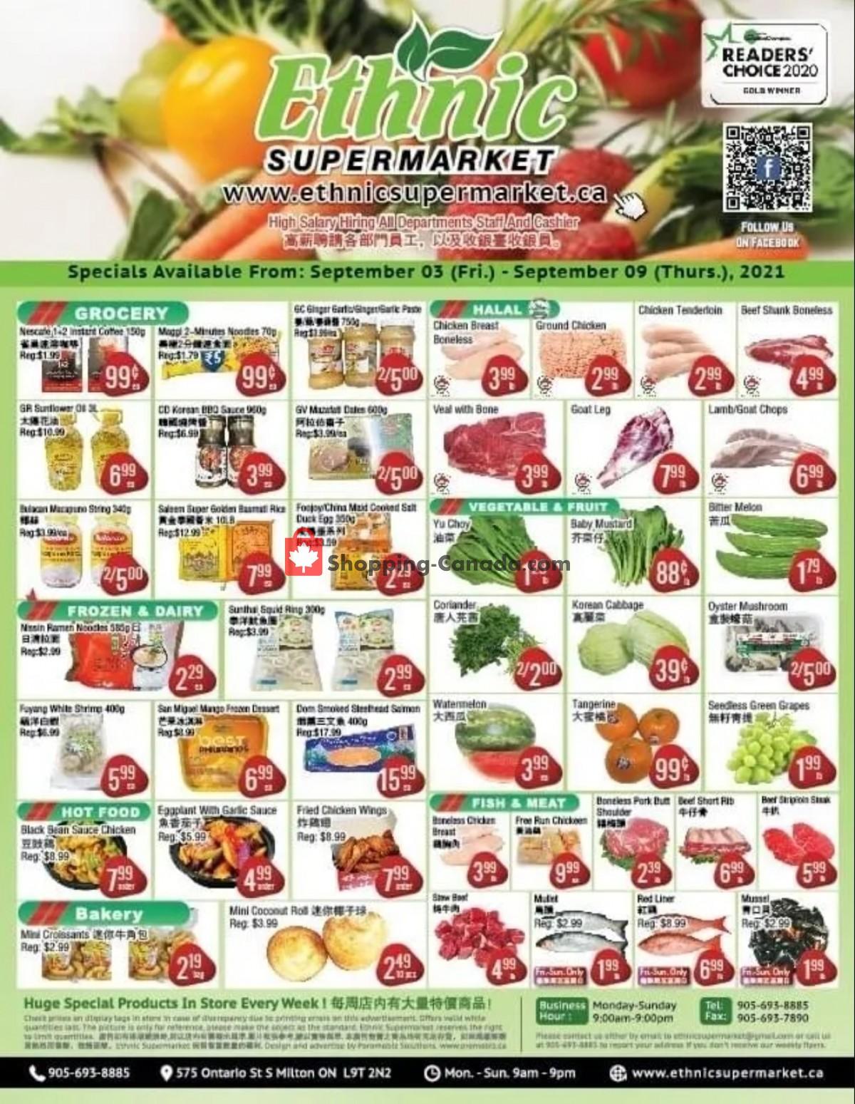 Flyer Ethnic Supermarket Canada - from Friday September 3, 2021 to Thursday September 9, 2021