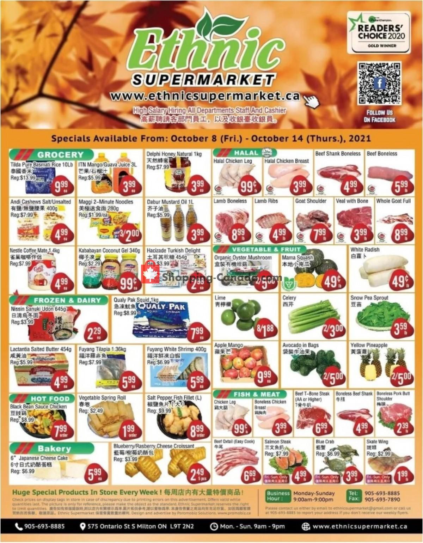 Flyer Ethnic Supermarket Canada - from Saturday October 9, 2021 to Thursday October 14, 2021