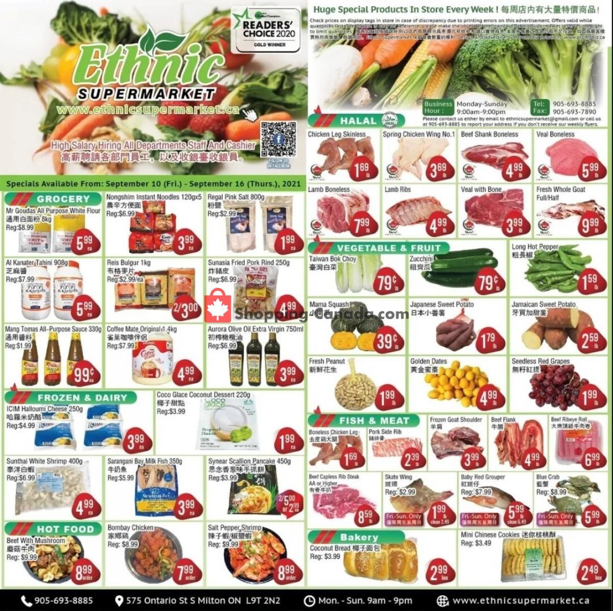 Flyer Ethnic Supermarket Canada - from Friday September 10, 2021 to Thursday September 16, 2021