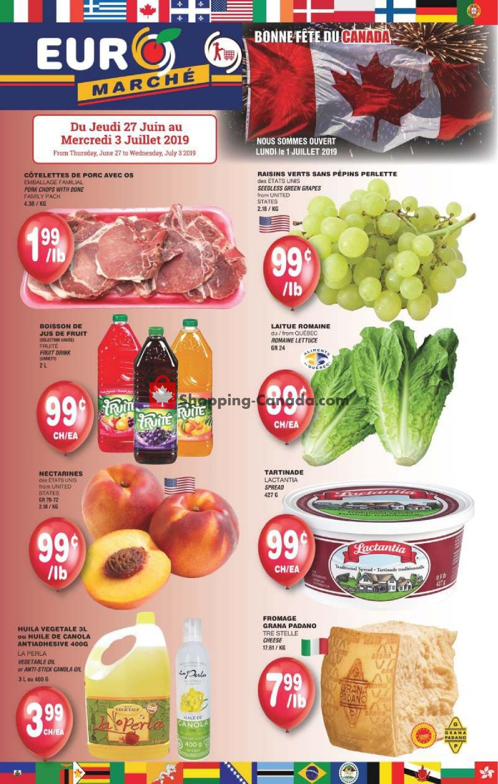 Flyer Euro Marché Canada - from Thursday June 27, 2019 to Wednesday July 3, 2019