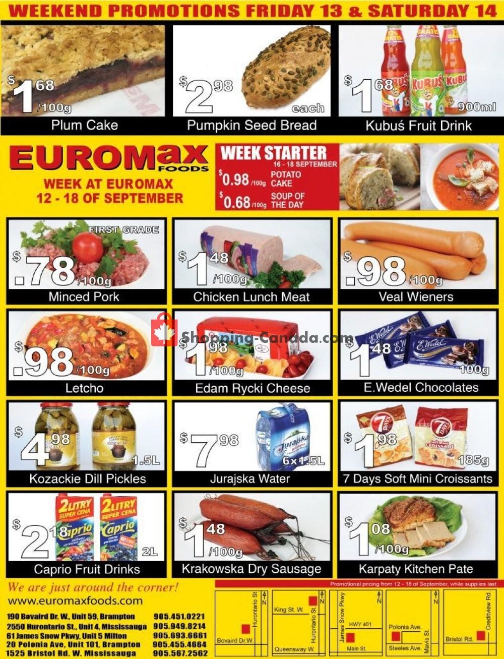 Flyer EuroMax Foods Canada - from Thursday September 12, 2019 to Wednesday September 18, 2019