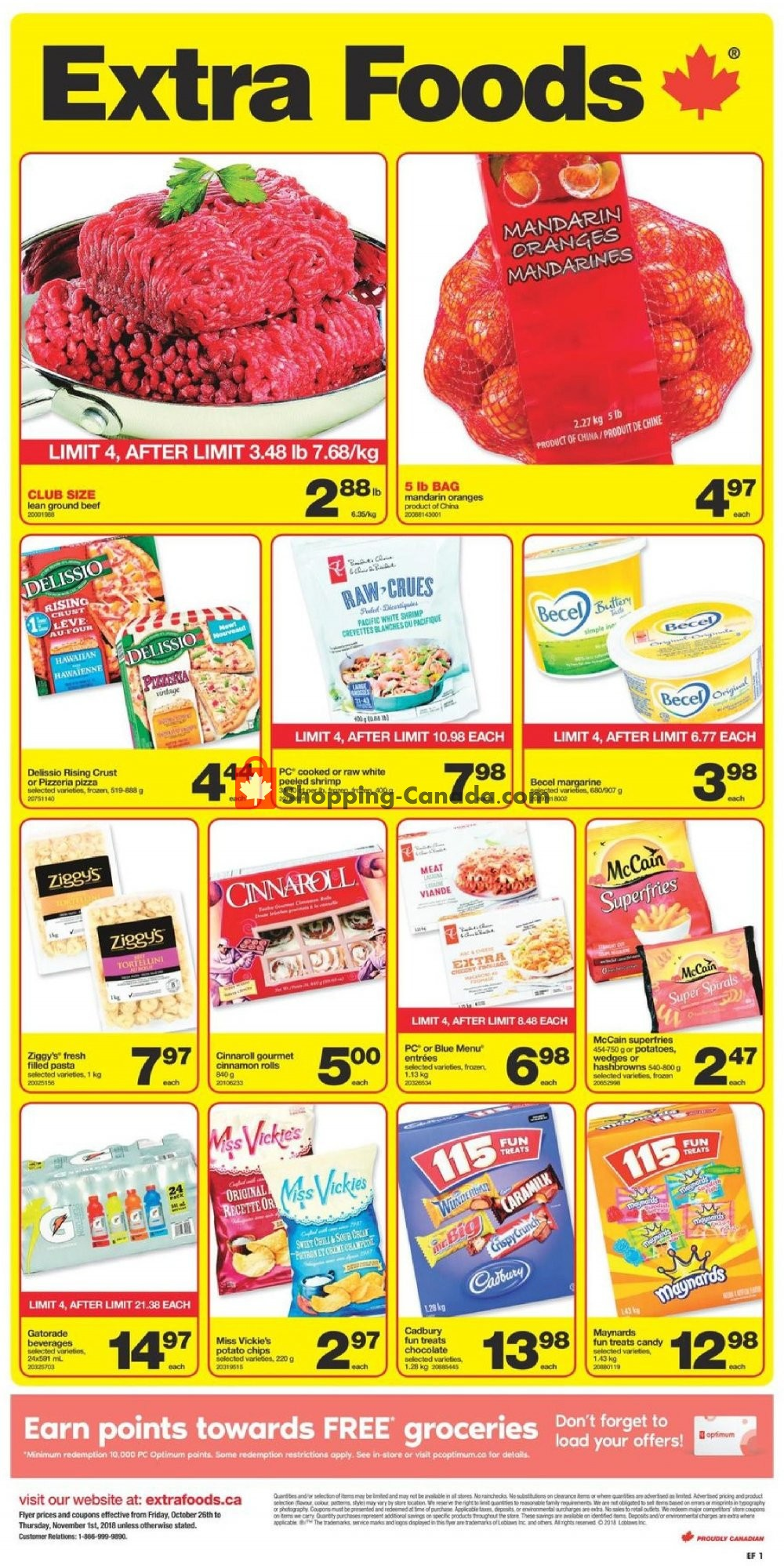 Flyer Extra Foods Canada - from Friday October 26, 2018 to Thursday November 1, 2018