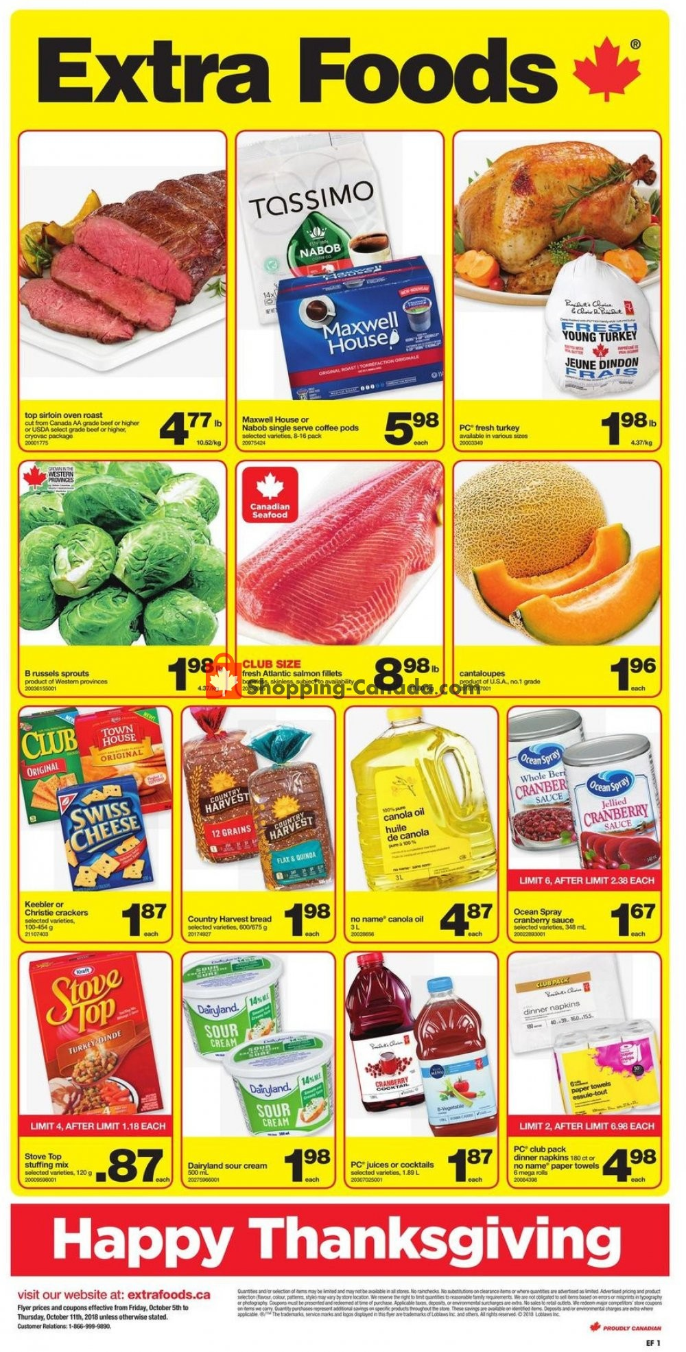 Flyer Extra Foods Canada - from Friday October 5, 2018 to Thursday October 11, 2018
