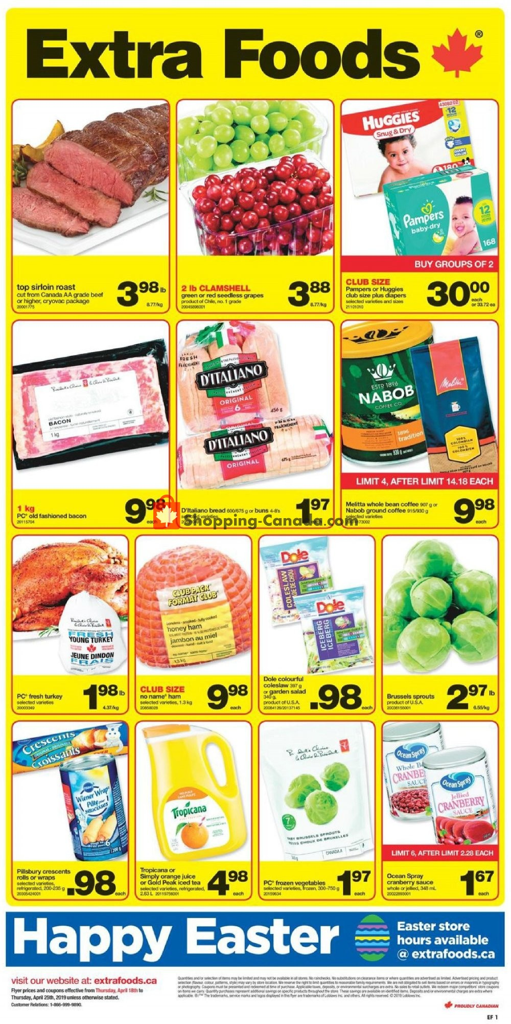 Flyer Extra Foods Canada - from Thursday April 18, 2019 to Thursday April 25, 2019