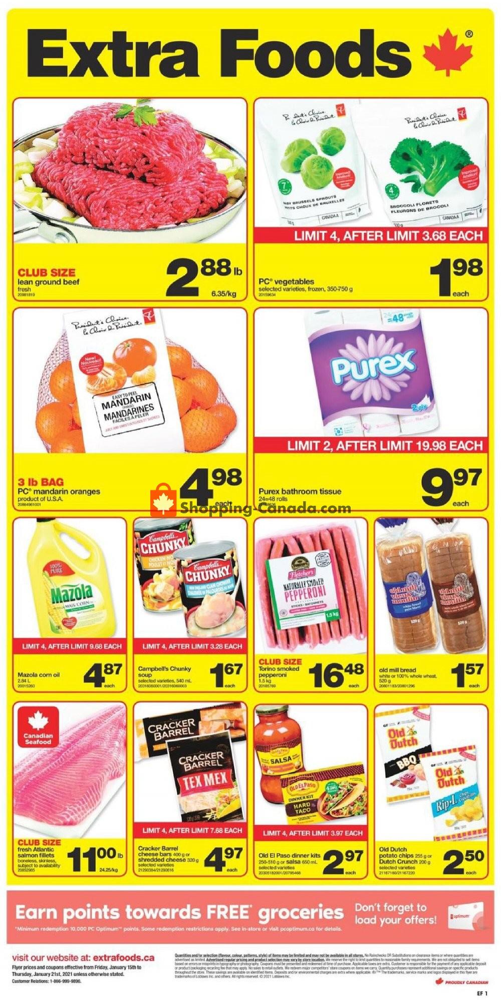 Flyer Extra Foods Canada - from Friday January 15, 2021 to Thursday January 21, 2021