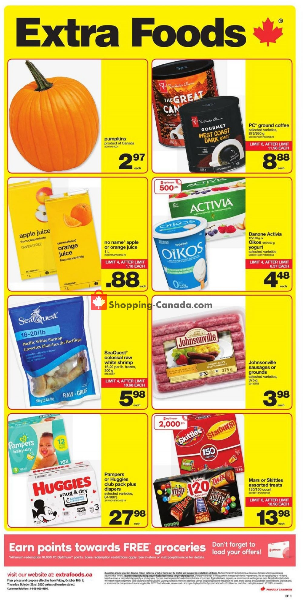 Flyer Extra Foods Canada - from Friday October 16, 2020 to Thursday October 22, 2020