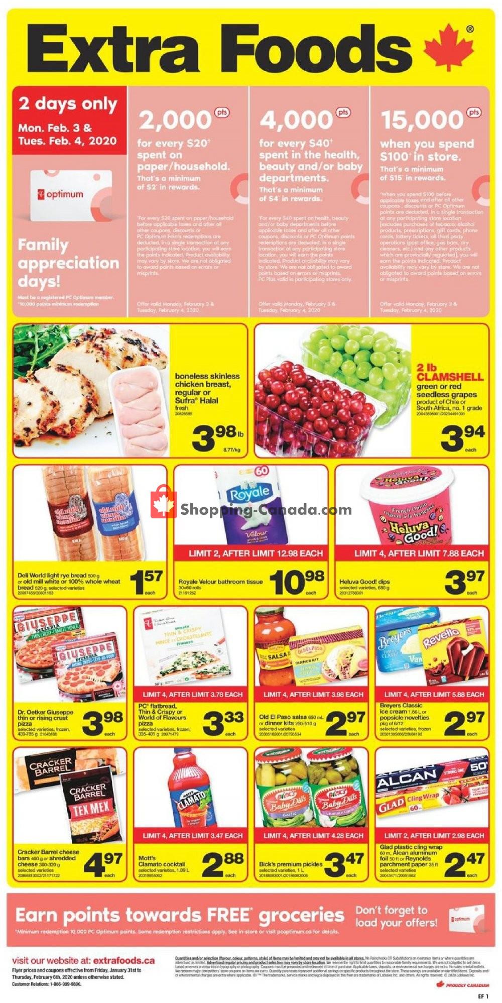 Flyer Extra Foods Canada - from Friday January 31, 2020 to Thursday February 6, 2020