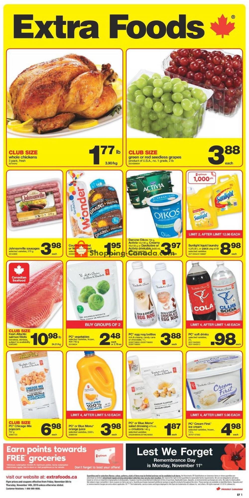 Flyer Extra Foods Canada - from Friday November 8, 2019 to Thursday November 14, 2019