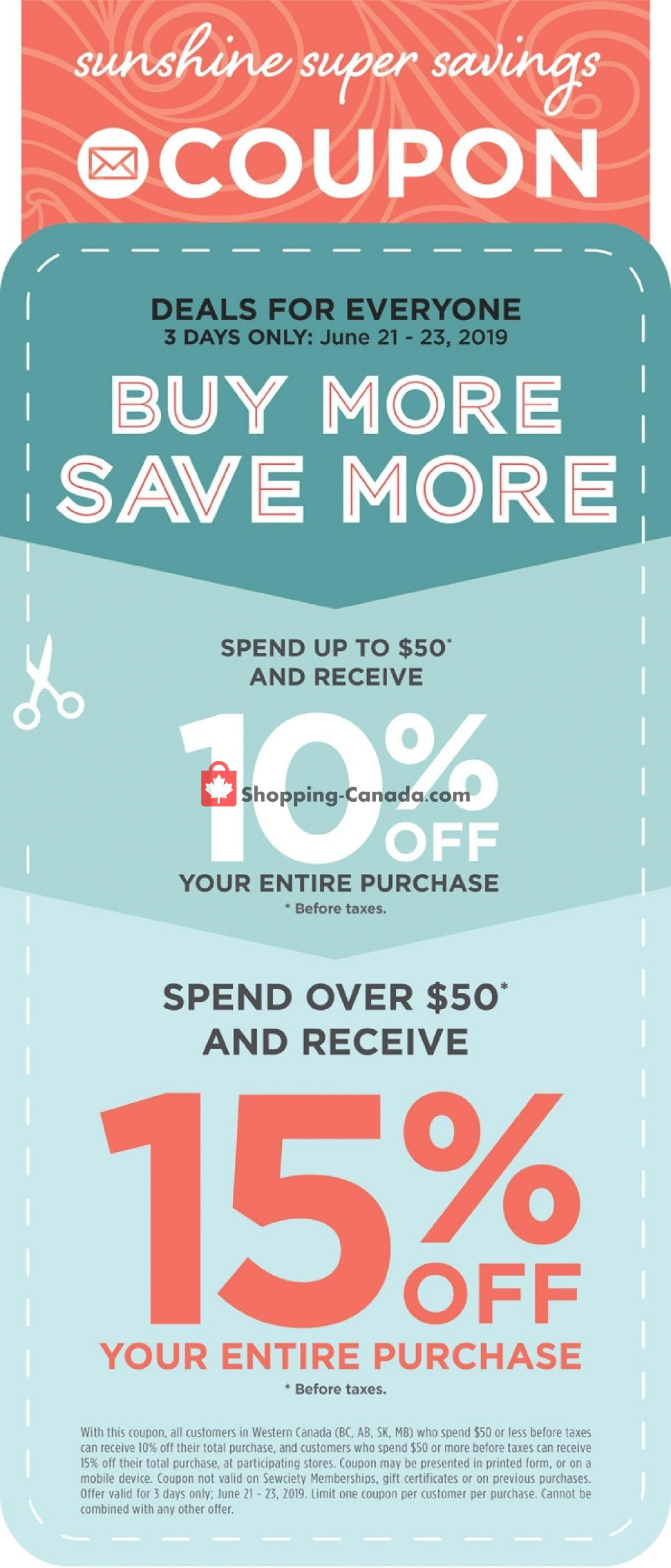 Flyer Fabricland Canada - from Friday June 21, 2019 to Sunday June 23, 2019