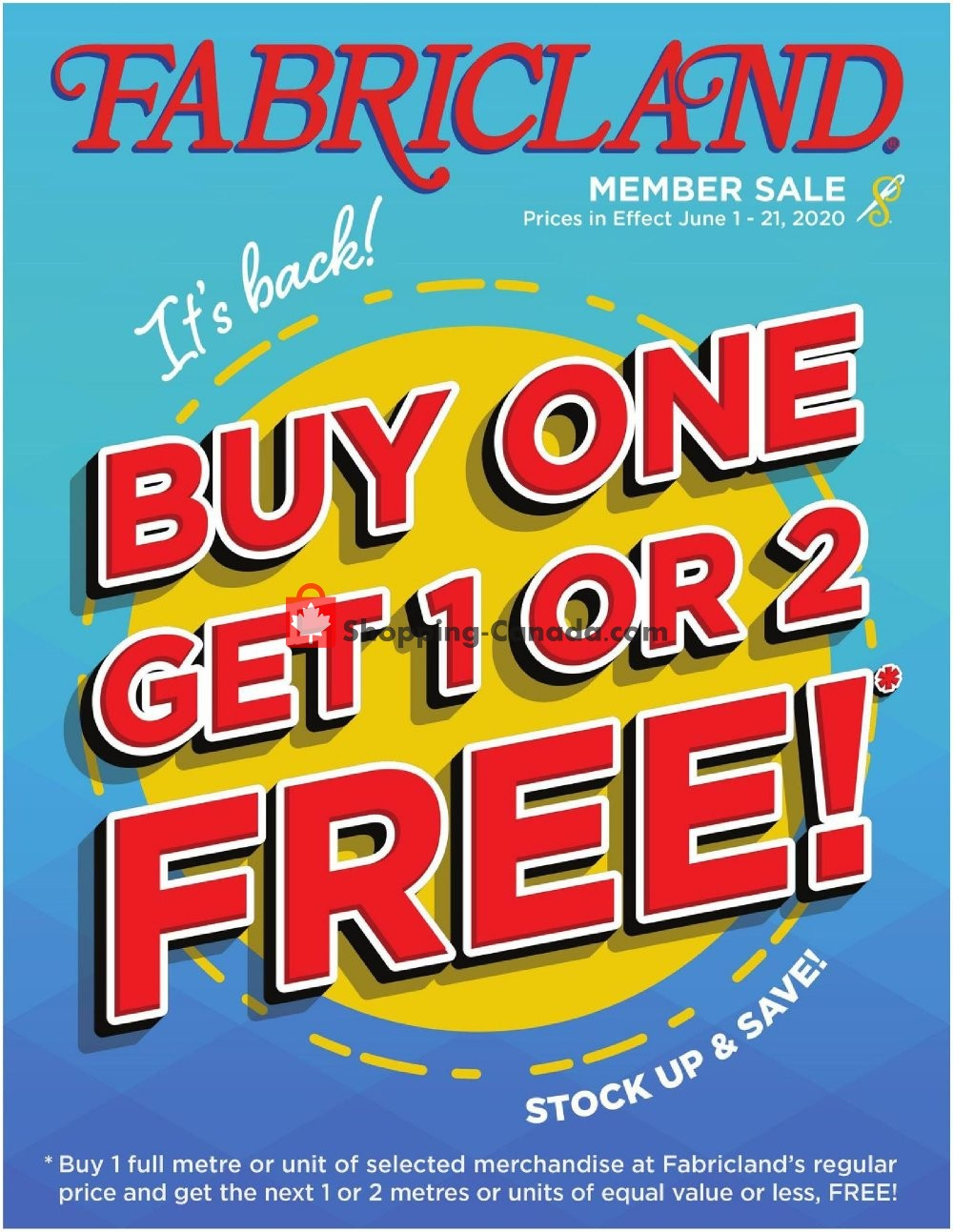 Flyer Fabricland Canada - from Monday June 1, 2020 to Sunday June 21, 2020