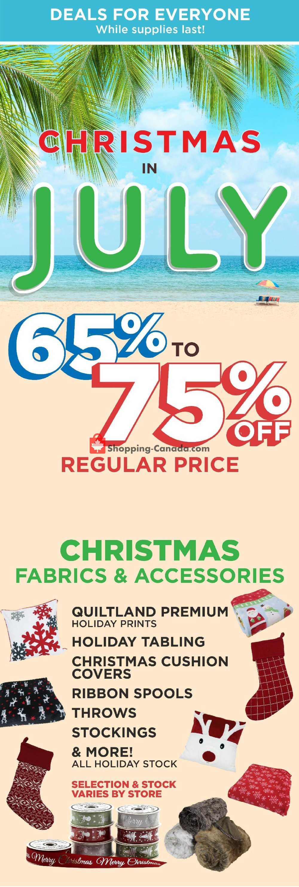 Flyer Fabricland Canada - from Sunday July 21, 2019 to Saturday July 27, 2019
