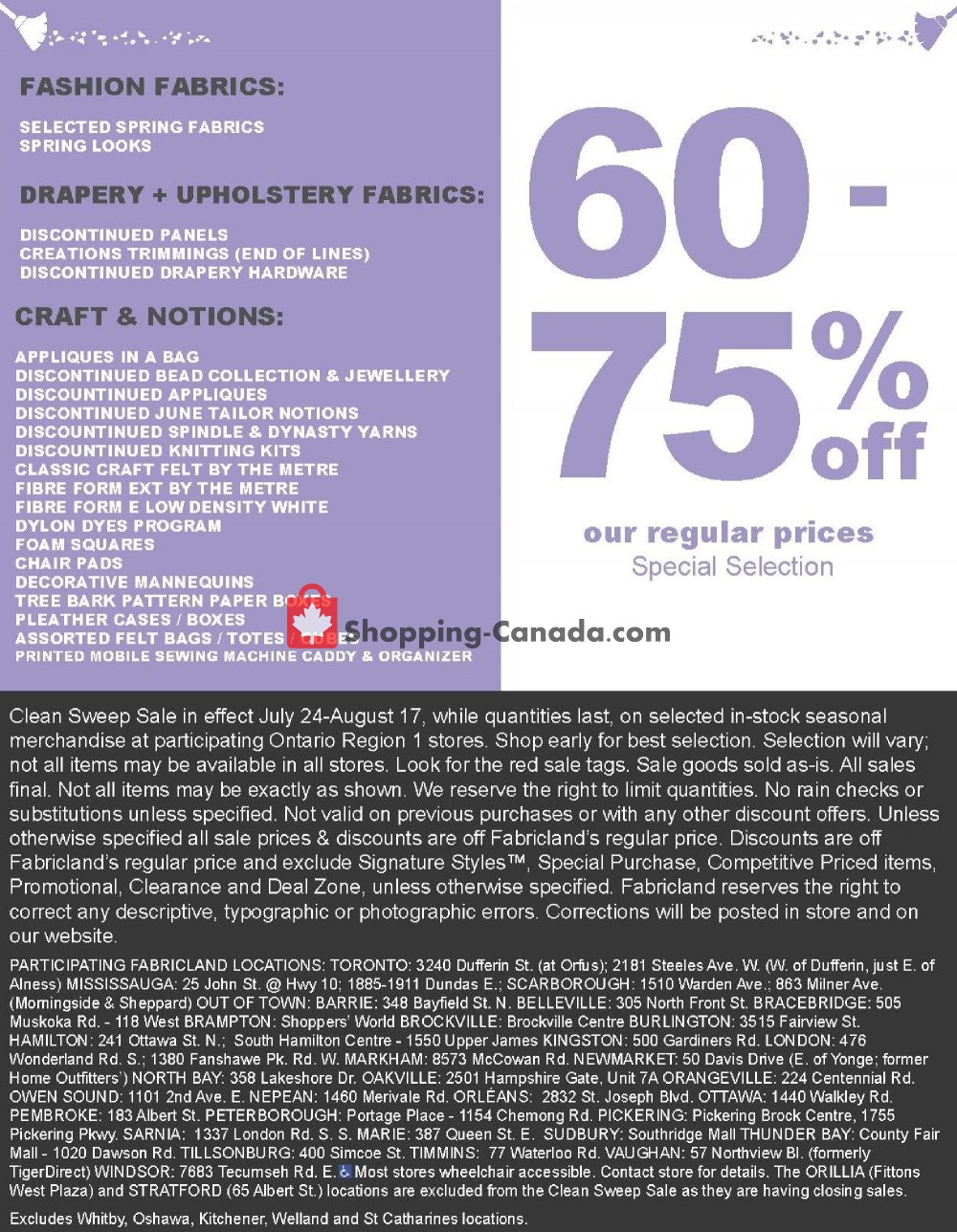 Flyer Fabricland Canada - from Wednesday July 24, 2019 to Saturday August 17, 2019
