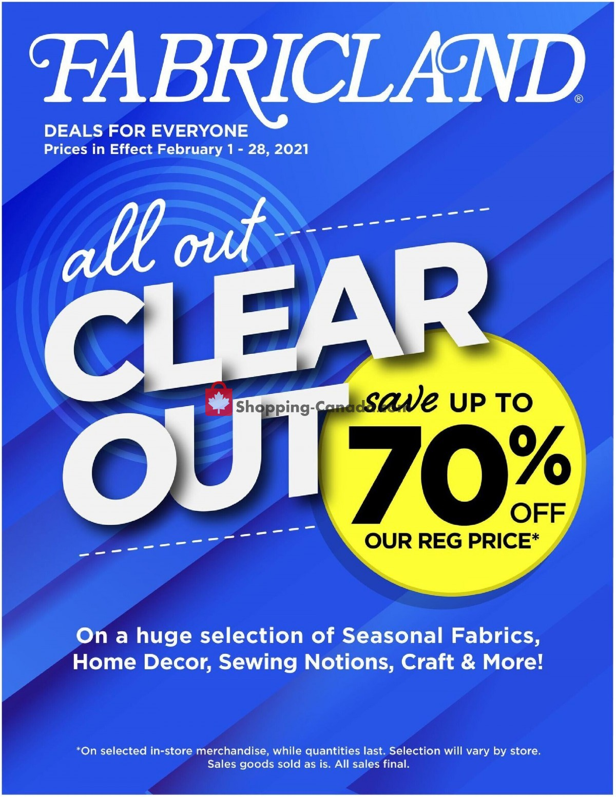 Flyer Fabricland Canada - from Monday February 1, 2021 to Sunday February 28, 2021