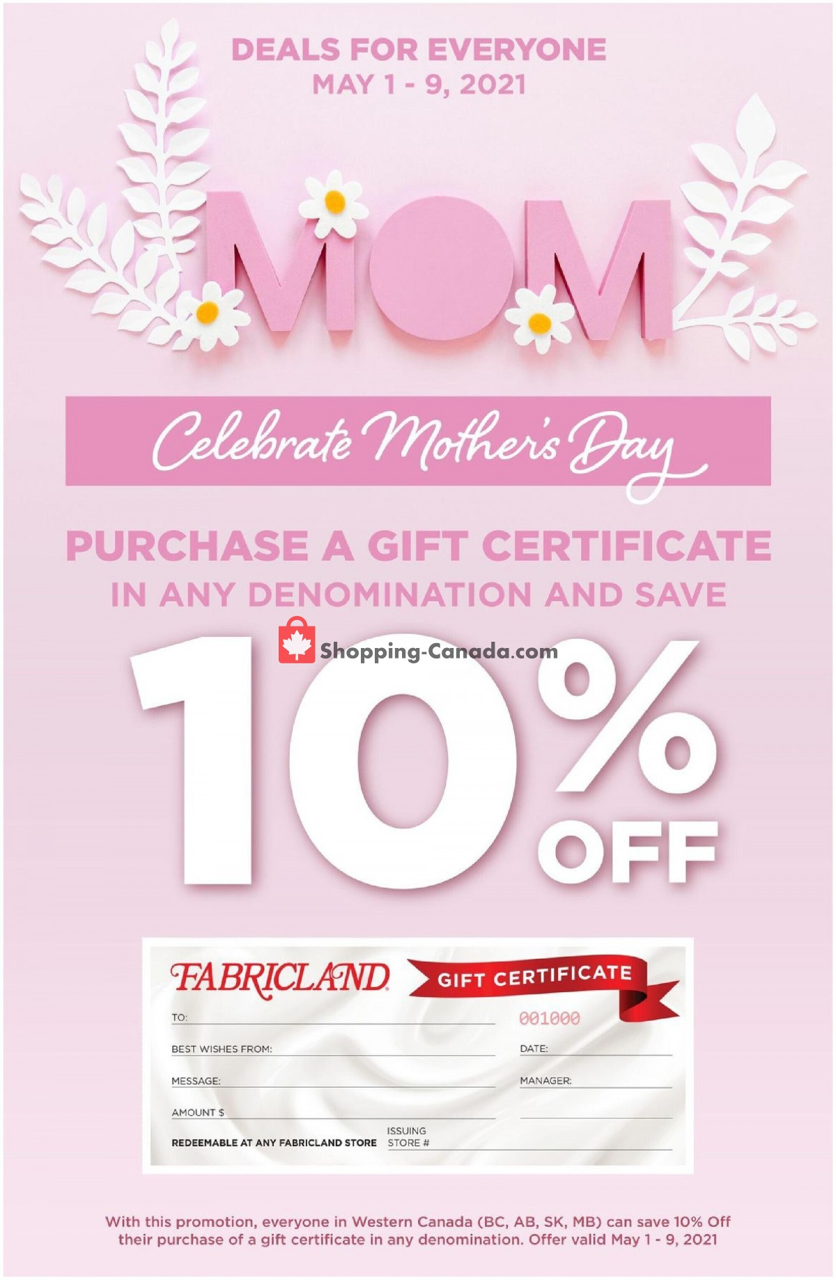 Flyer Fabricland Canada - from Saturday May 1, 2021 to Sunday May 9, 2021