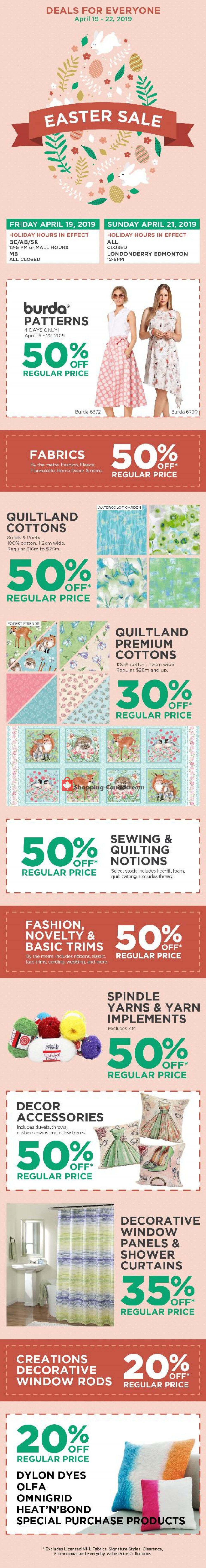 Flyer Fabricland Canada - from Friday April 19, 2019 to Monday April 22, 2019