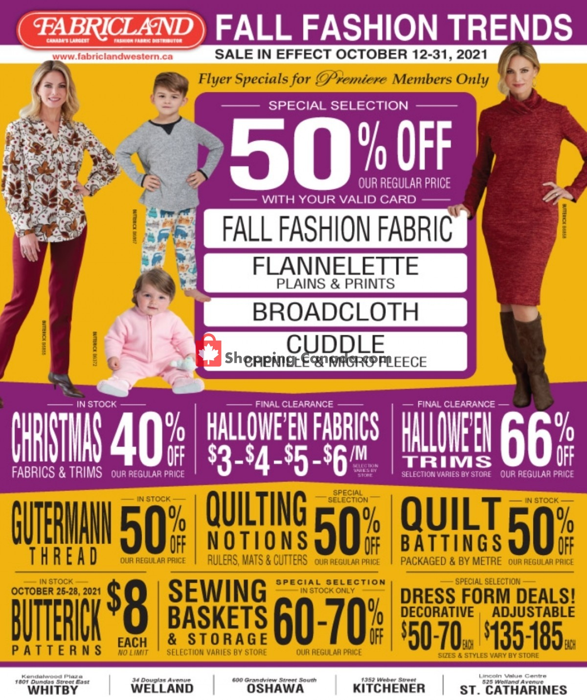 Flyer Fabricland Canada - from Tuesday October 12, 2021 to Sunday October 31, 2021