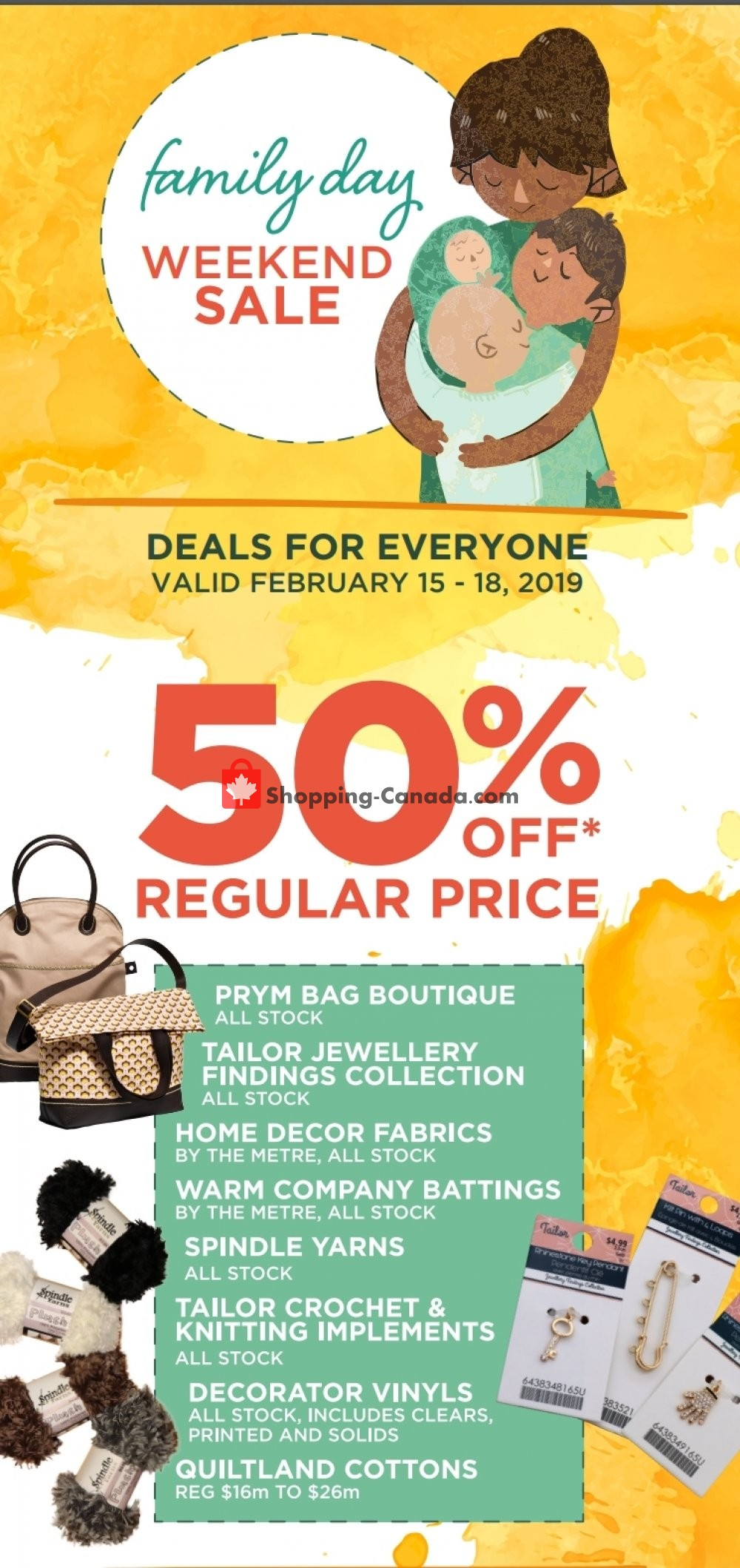 Flyer Fabricland Canada - from Friday February 15, 2019 to Monday February 18, 2019
