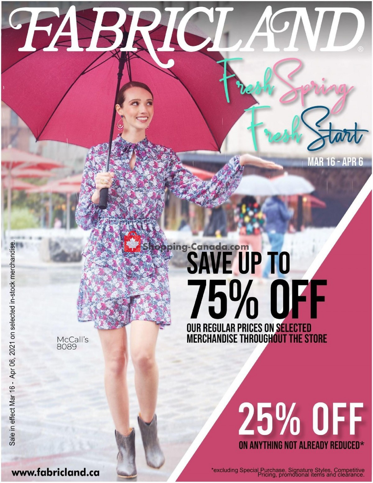 Flyer Fabricland Canada - from Tuesday March 16, 2021 to Tuesday April 6, 2021
