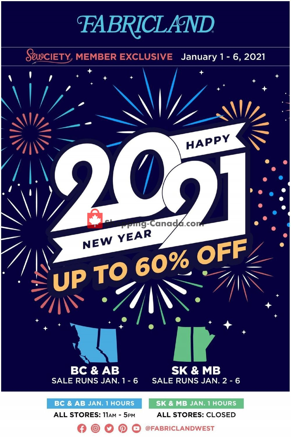 Flyer Fabricland Canada - from Friday January 1, 2021 to Wednesday January 6, 2021