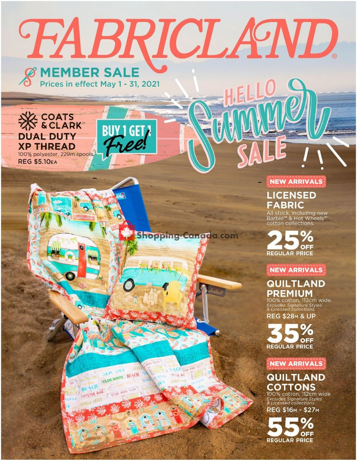 Flyer Fabricland Canada - from Saturday May 1, 2021 to Monday May 31, 2021