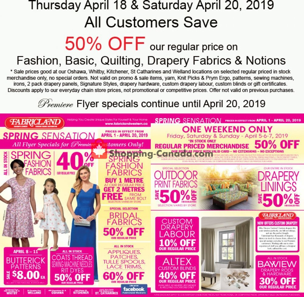 Flyer Fabricland Canada - from Thursday April 18, 2019 to Saturday April 20, 2019