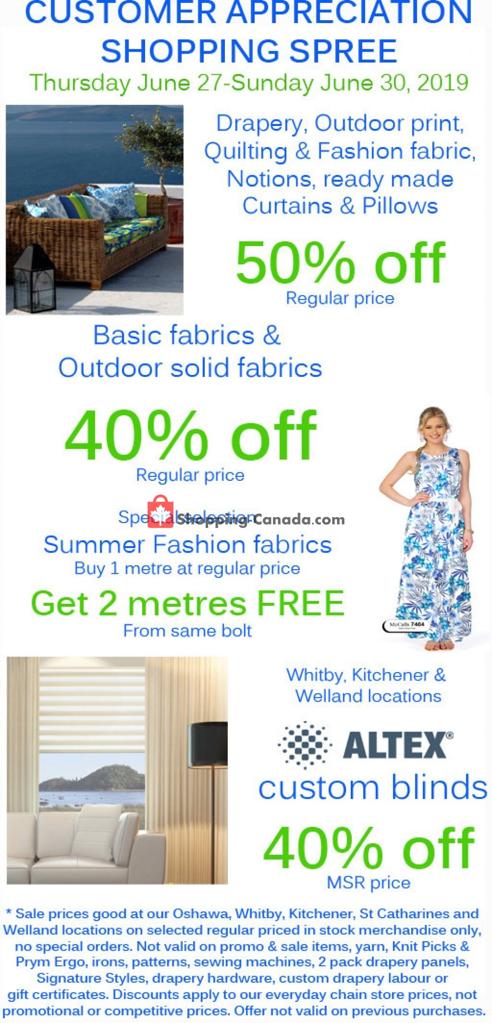 Flyer Fabricland Canada - from Thursday June 27, 2019 to Sunday June 30, 2019