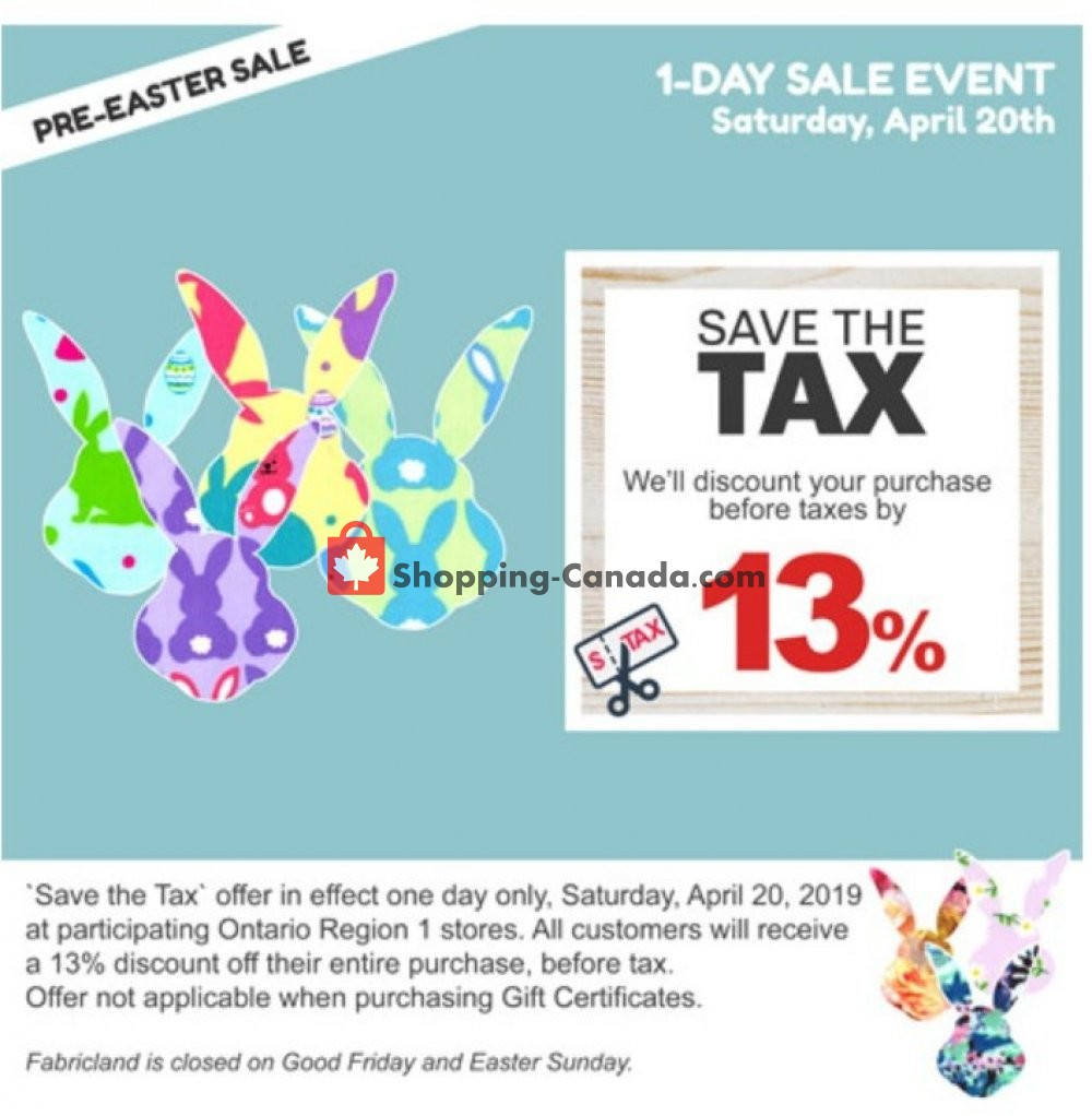 Flyer Fabricland Canada - from Saturday April 20, 2019 to Saturday April 20, 2019