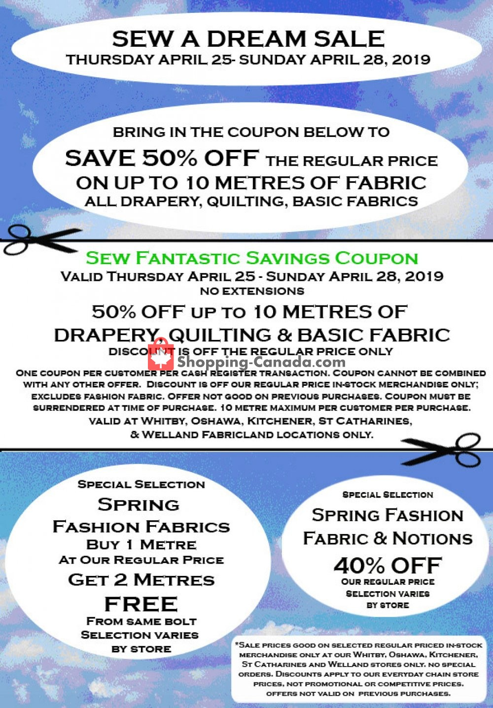 Flyer Fabricland Canada - from Thursday April 25, 2019 to Sunday April 28, 2019
