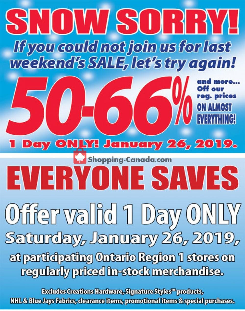 Flyer Fabricland Canada - from Saturday January 26, 2019 to Saturday January 26, 2019